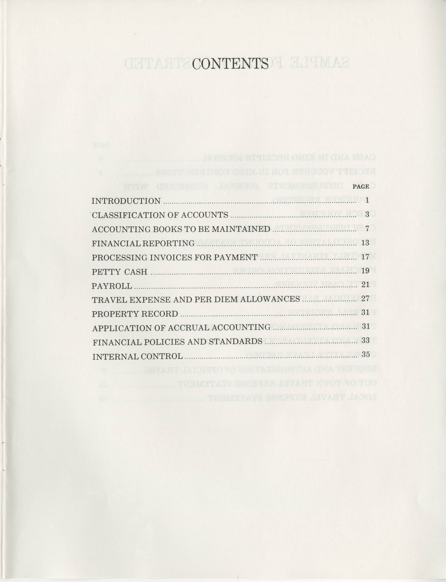Guide for Grantee Accounting, Contents Page