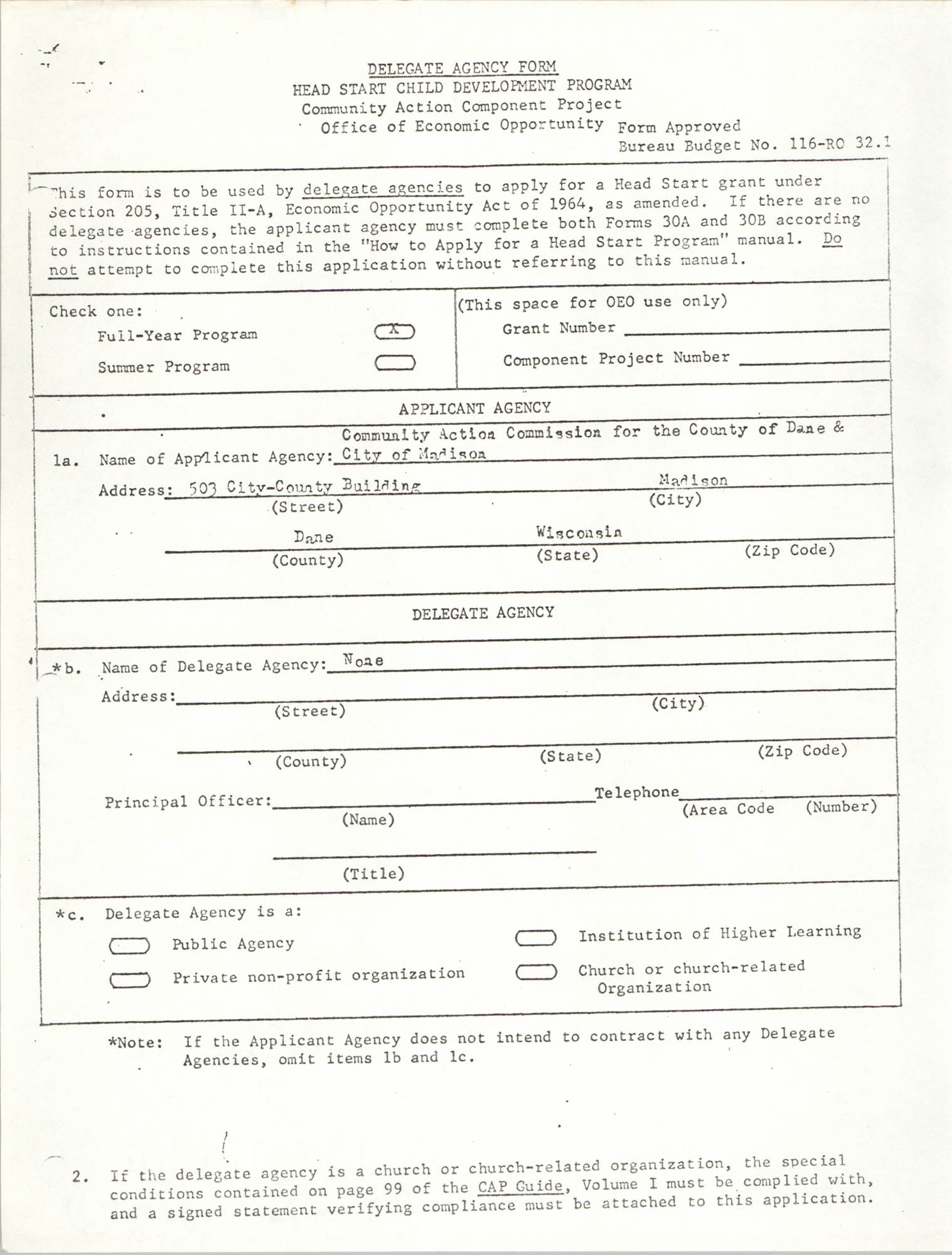 Delegate Agency Form, Page 1