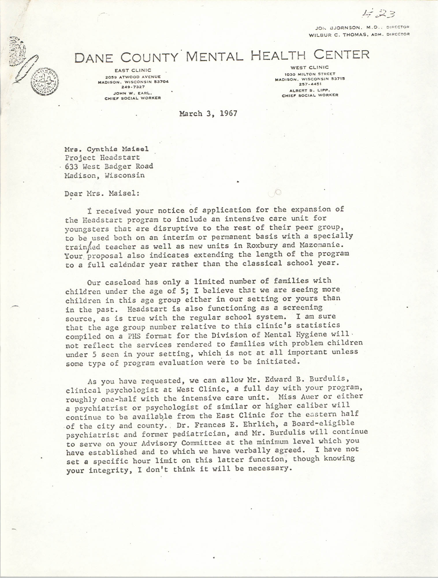 Letter from Jon Bjornson to Cynthia Maisel, March 3, 1967, Page 1