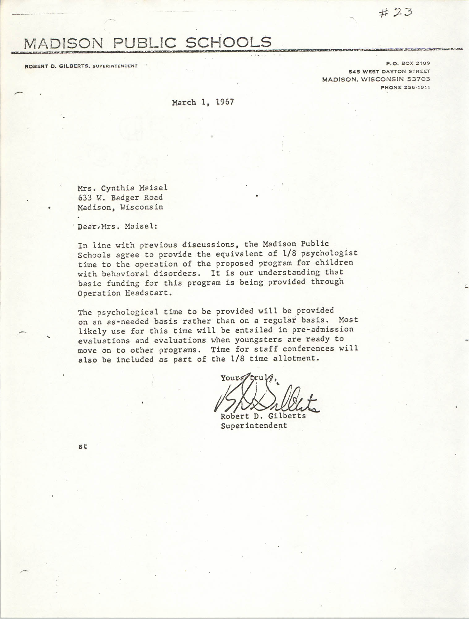 Letter from Robert D. Gilberts to Cynthia Maisel, March 1, 1967