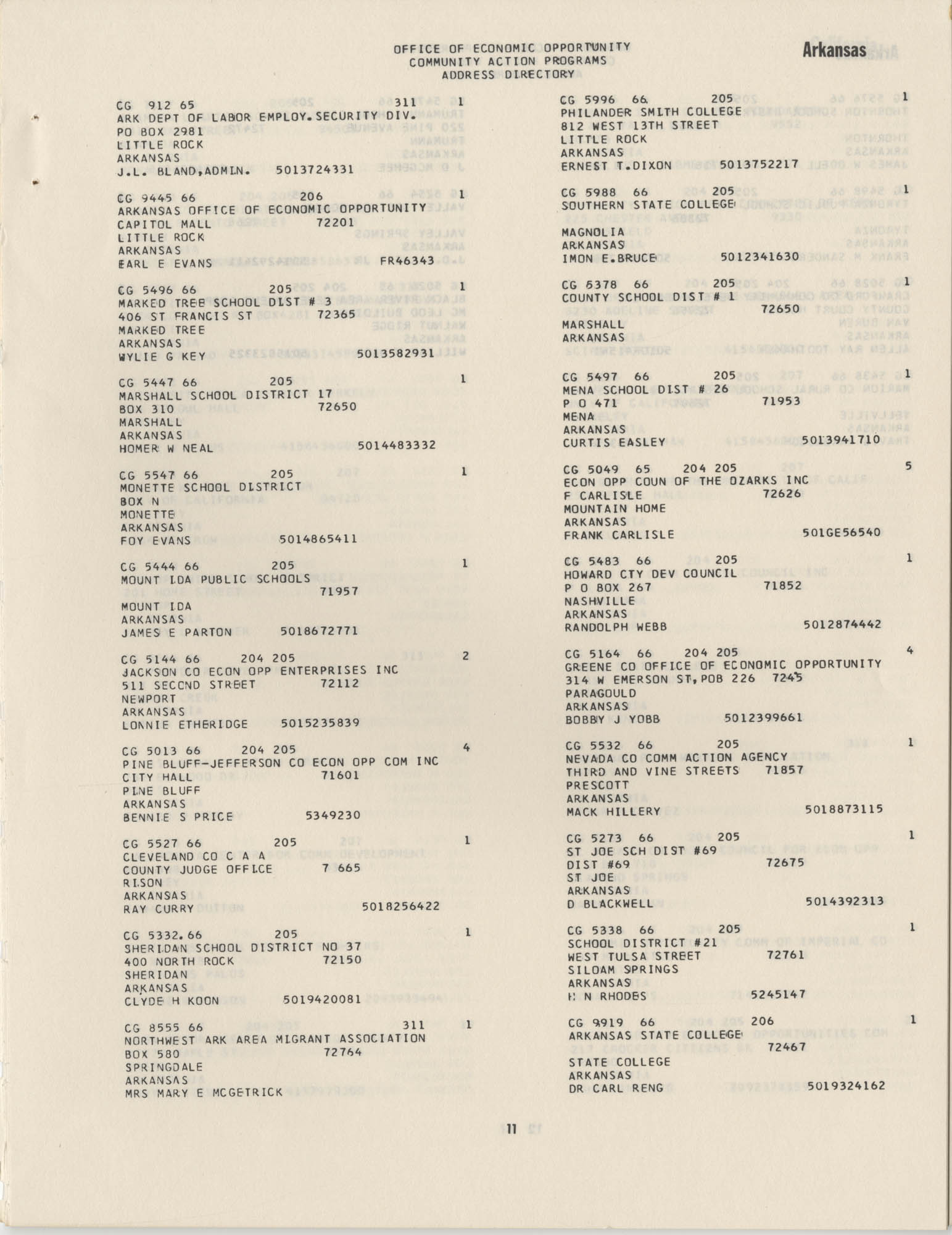 Community Action Programs Directory, June 15, 1966, Page 11