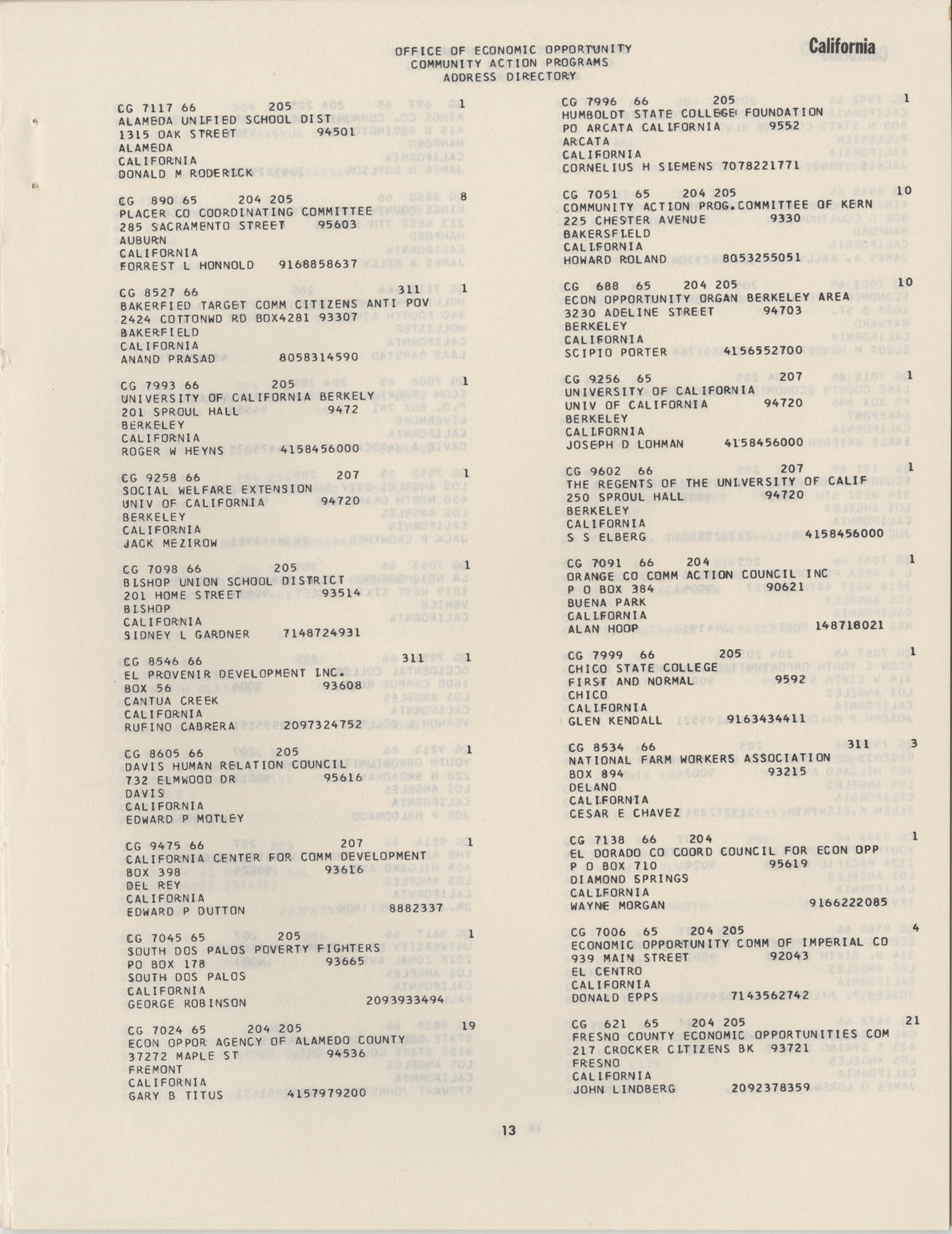 Community Action Programs Directory, June 15, 1966, Page 13