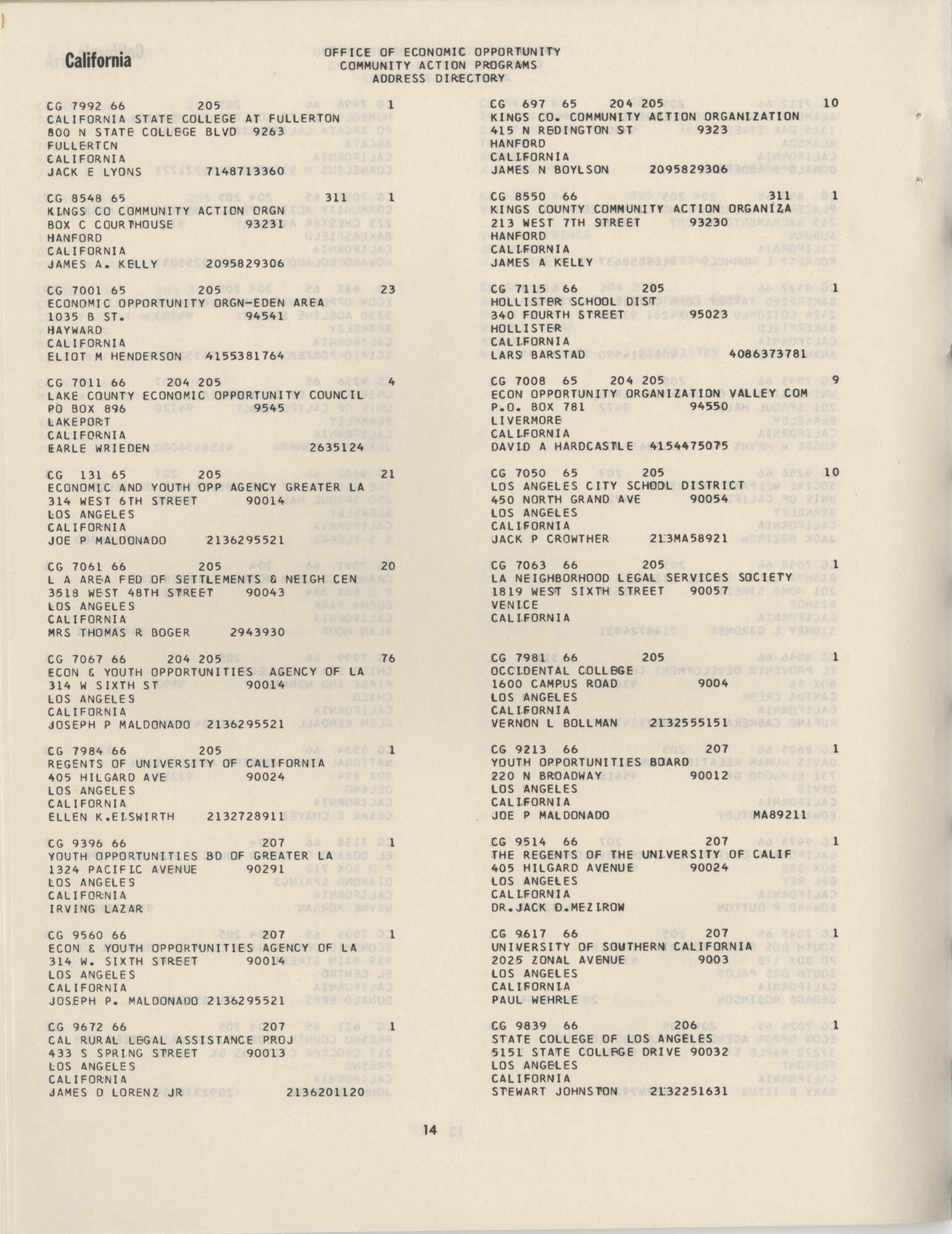 Community Action Programs Directory, June 15, 1966, Page 14