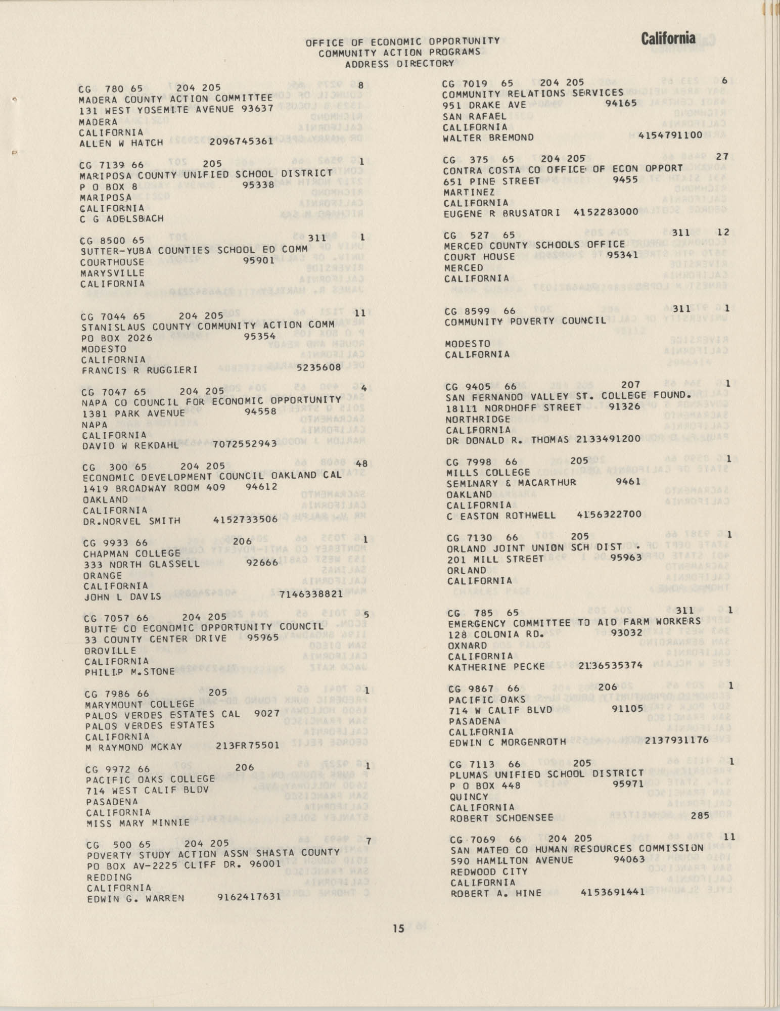 Community Action Programs Directory, June 15, 1966, Page 15
