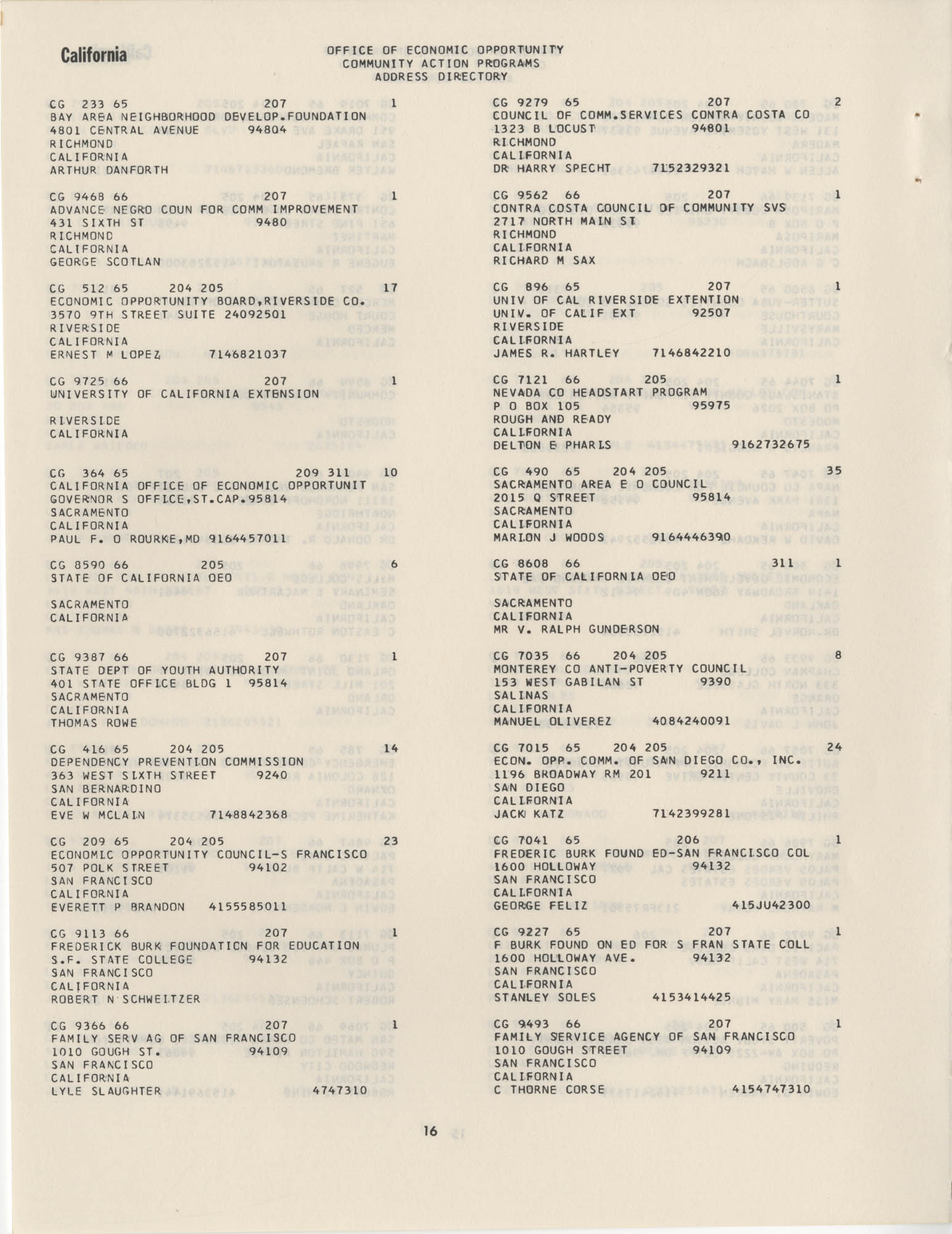 Community Action Programs Directory, June 15, 1966, Page 16