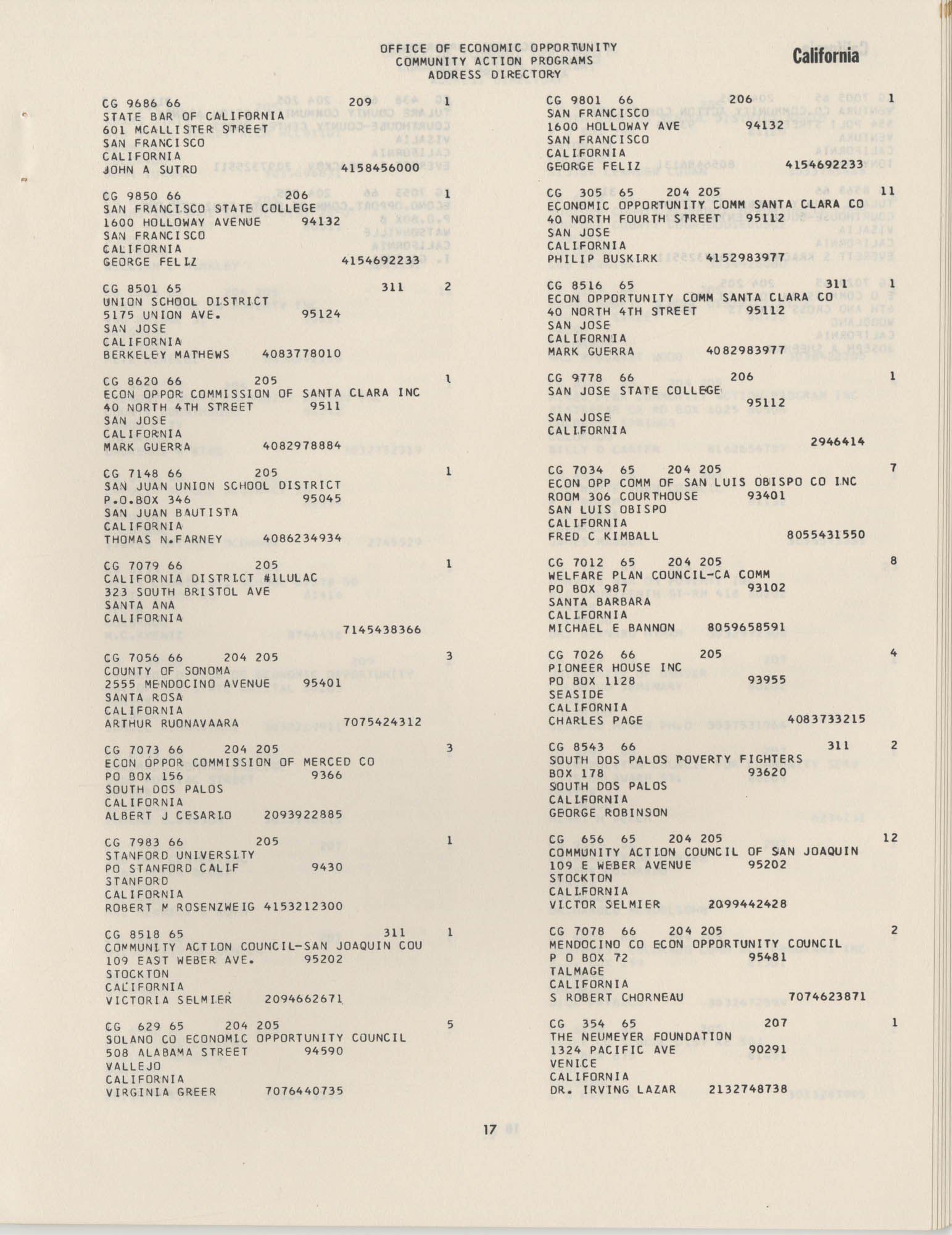 Community Action Programs Directory, June 15, 1966, Page 17