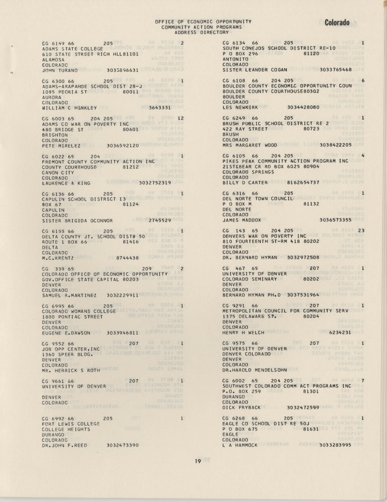 Community Action Programs Directory, June 15, 1966, Page 19
