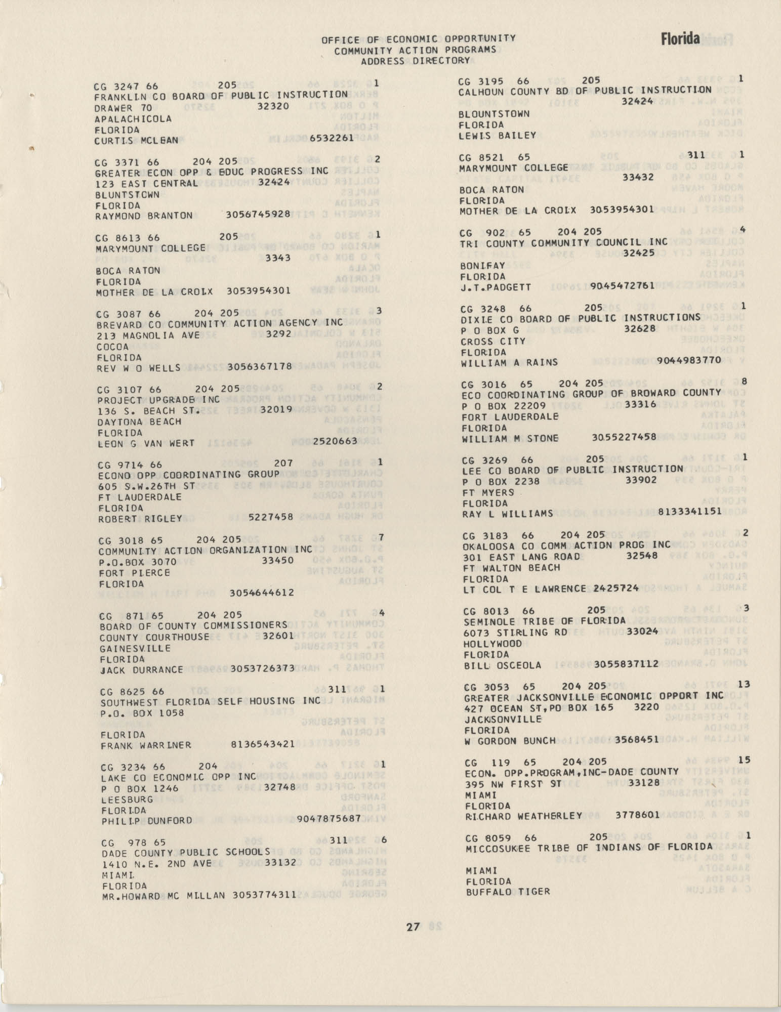 Community Action Programs Directory, June 15, 1966, Page 27