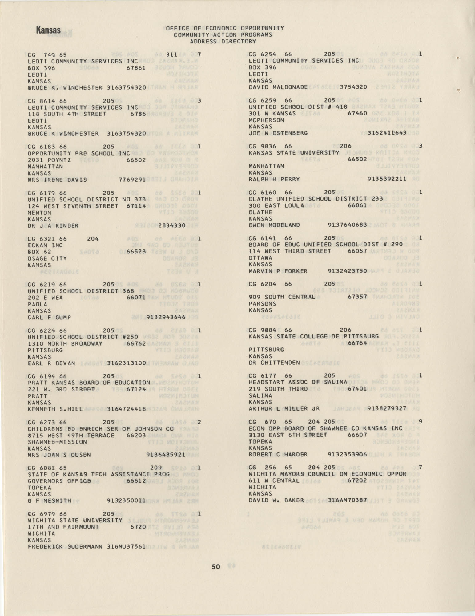 Community Action Programs Directory, June 15, 1966, Page 50