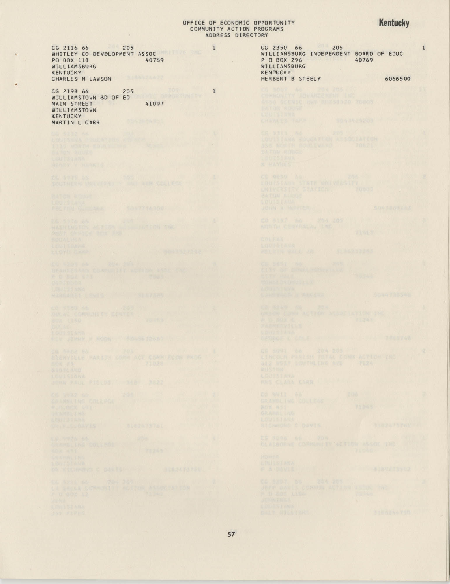 Community Action Programs Directory, June 15, 1966, Page 57