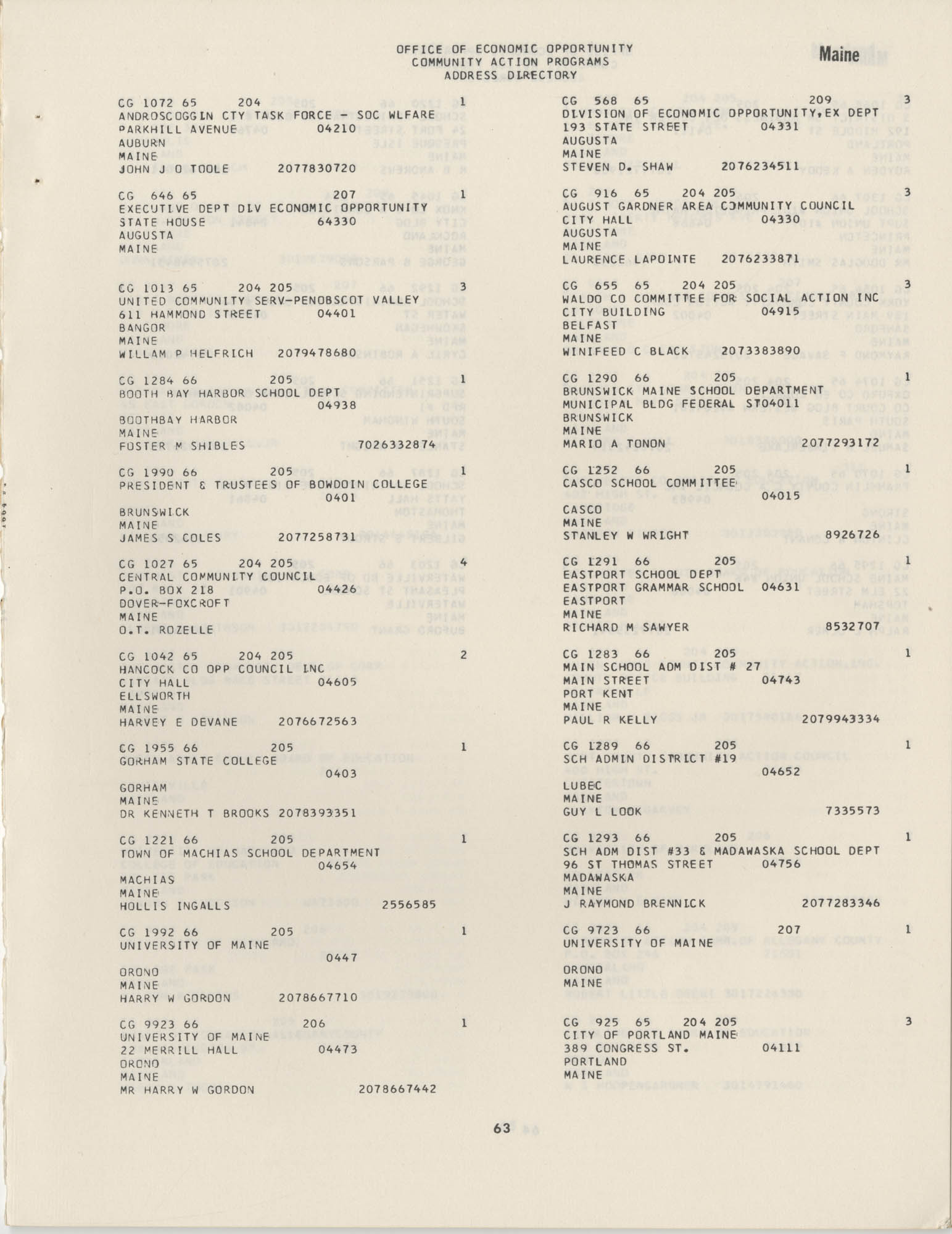 Community Action Programs Directory, June 15, 1966, Page 63