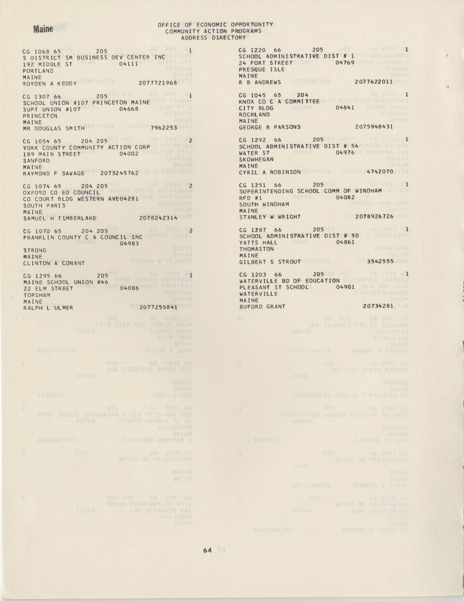 Community Action Programs Directory, June 15, 1966, Page 64