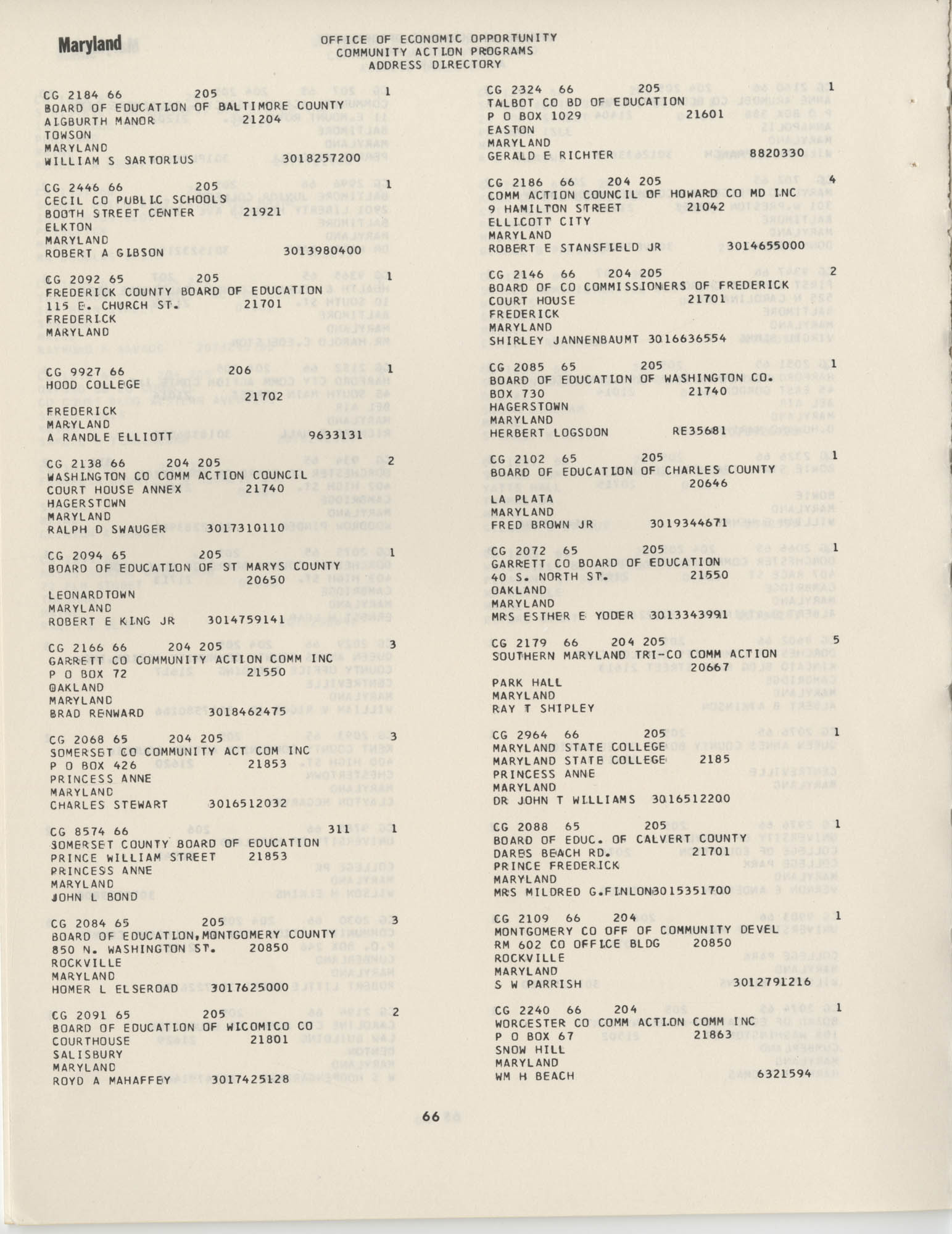 Community Action Programs Directory, June 15, 1966, Page 66