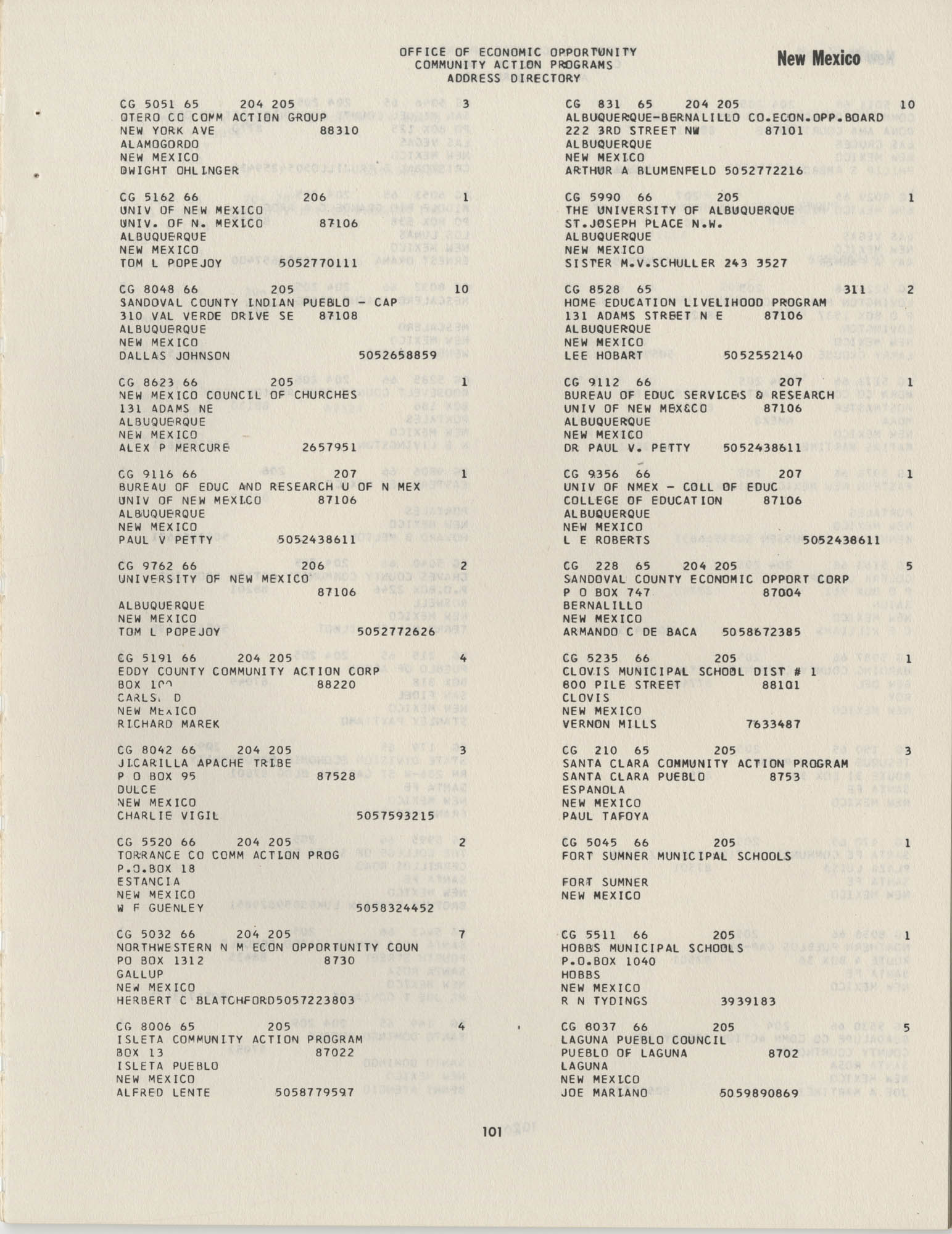 Community Action Programs Directory, June 15, 1966, Page 101