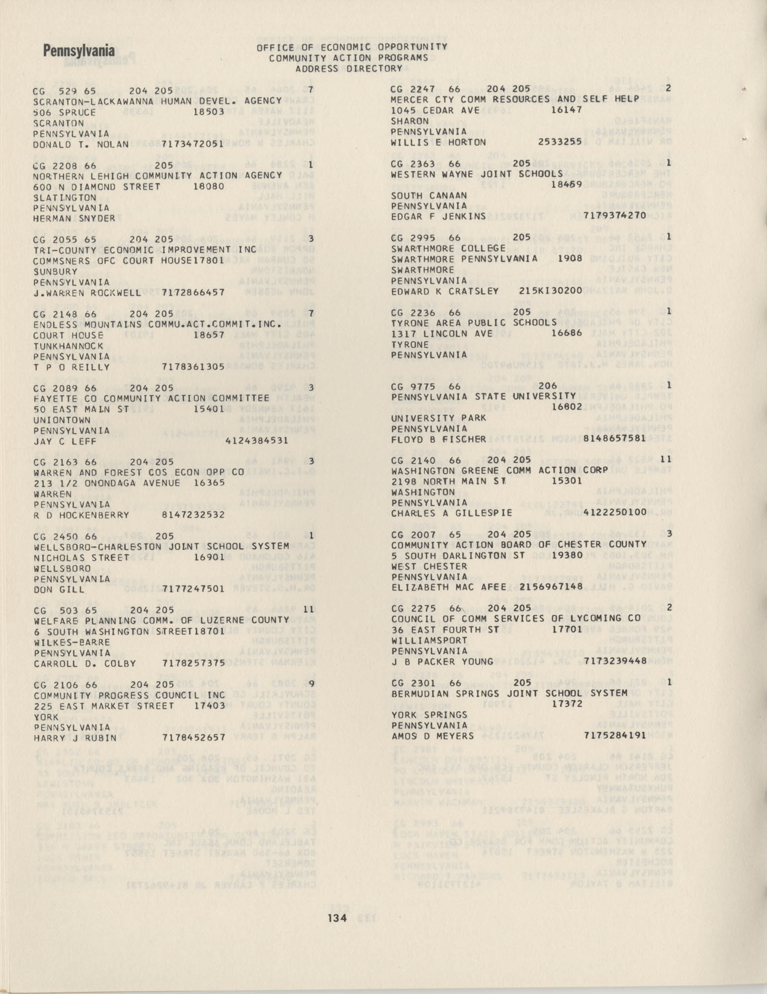 Community Action Programs Directory, June 15, 1966, Page 134