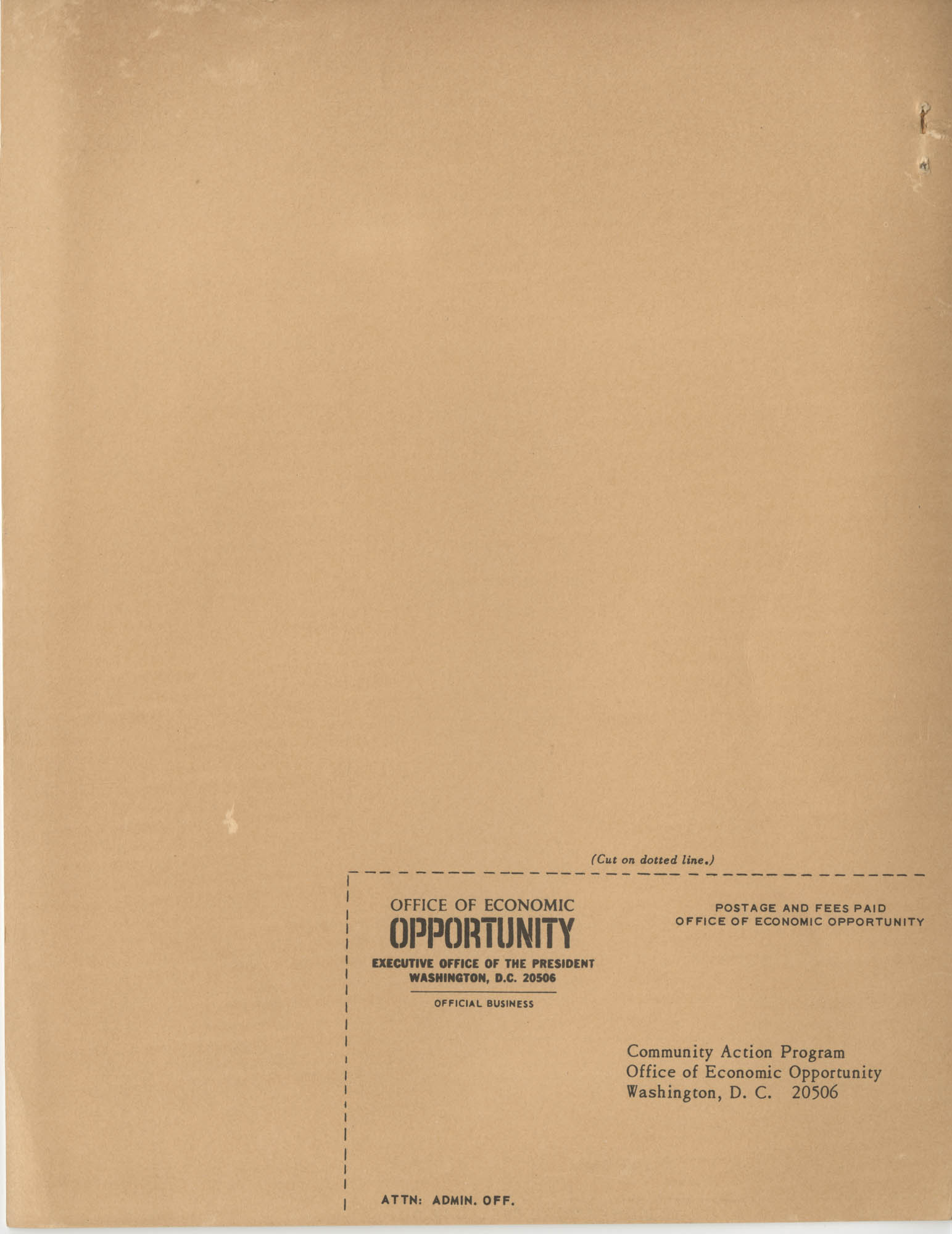 Community Action Programs Directory, June 15, 1966, Back Cover Exterior