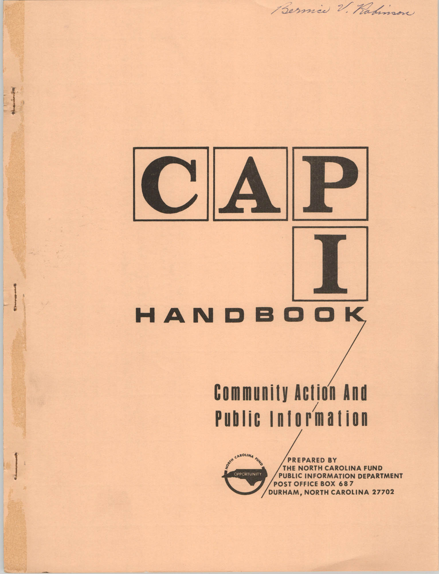 Community Action and Public Information Handbook, Front Cover