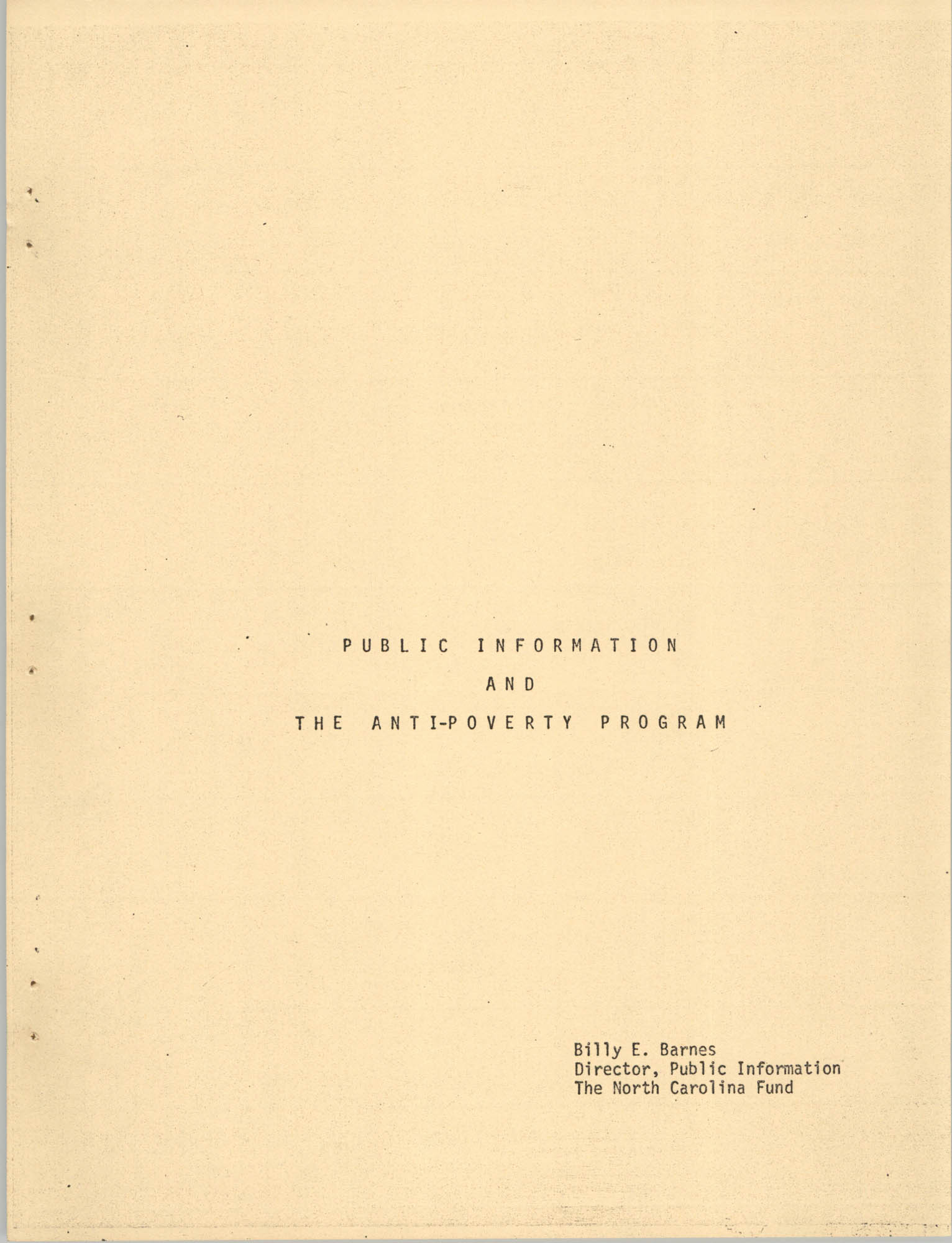 Public Information and the Anti-Poverty Program, Cover Page