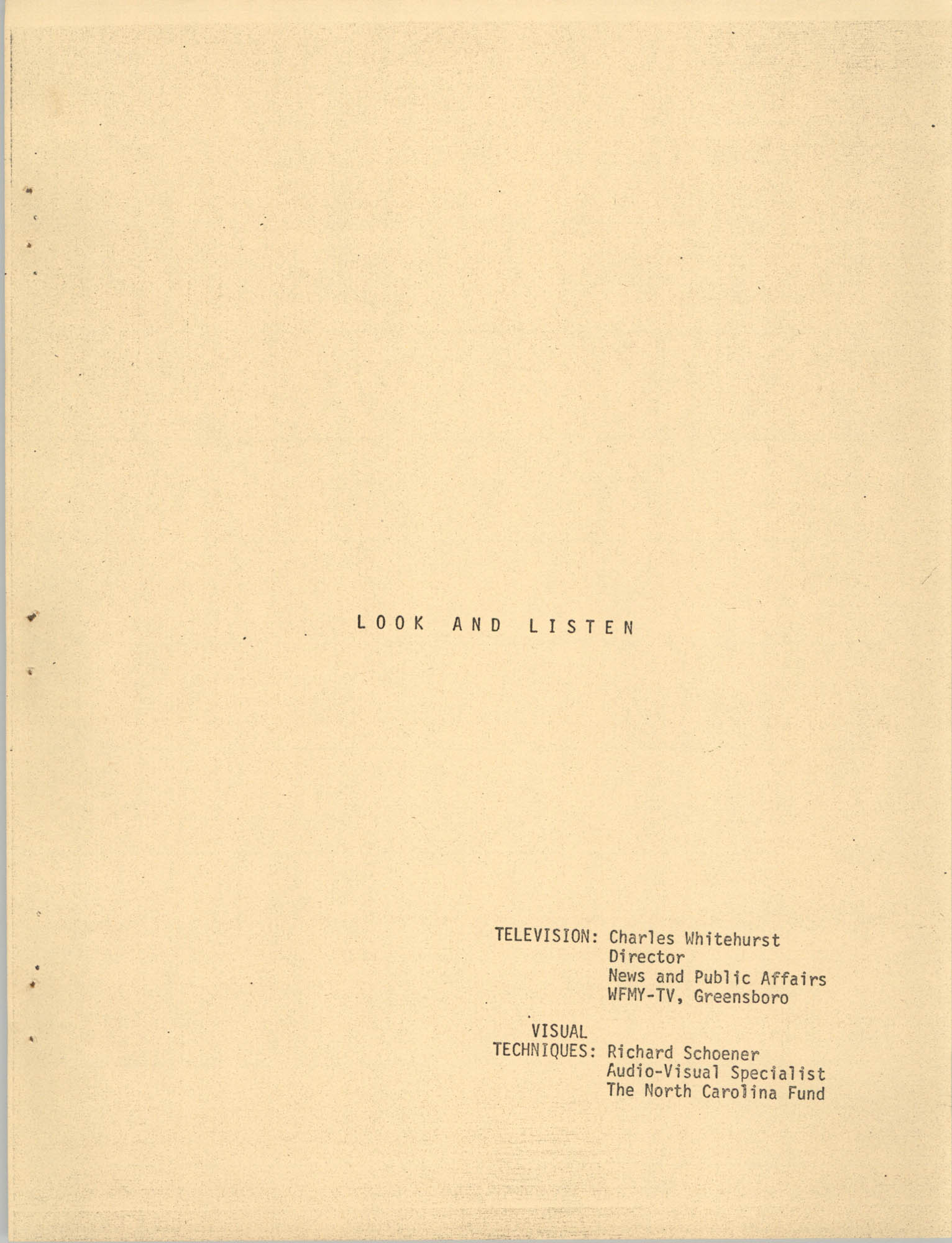 Look and Listen, Cover Page
