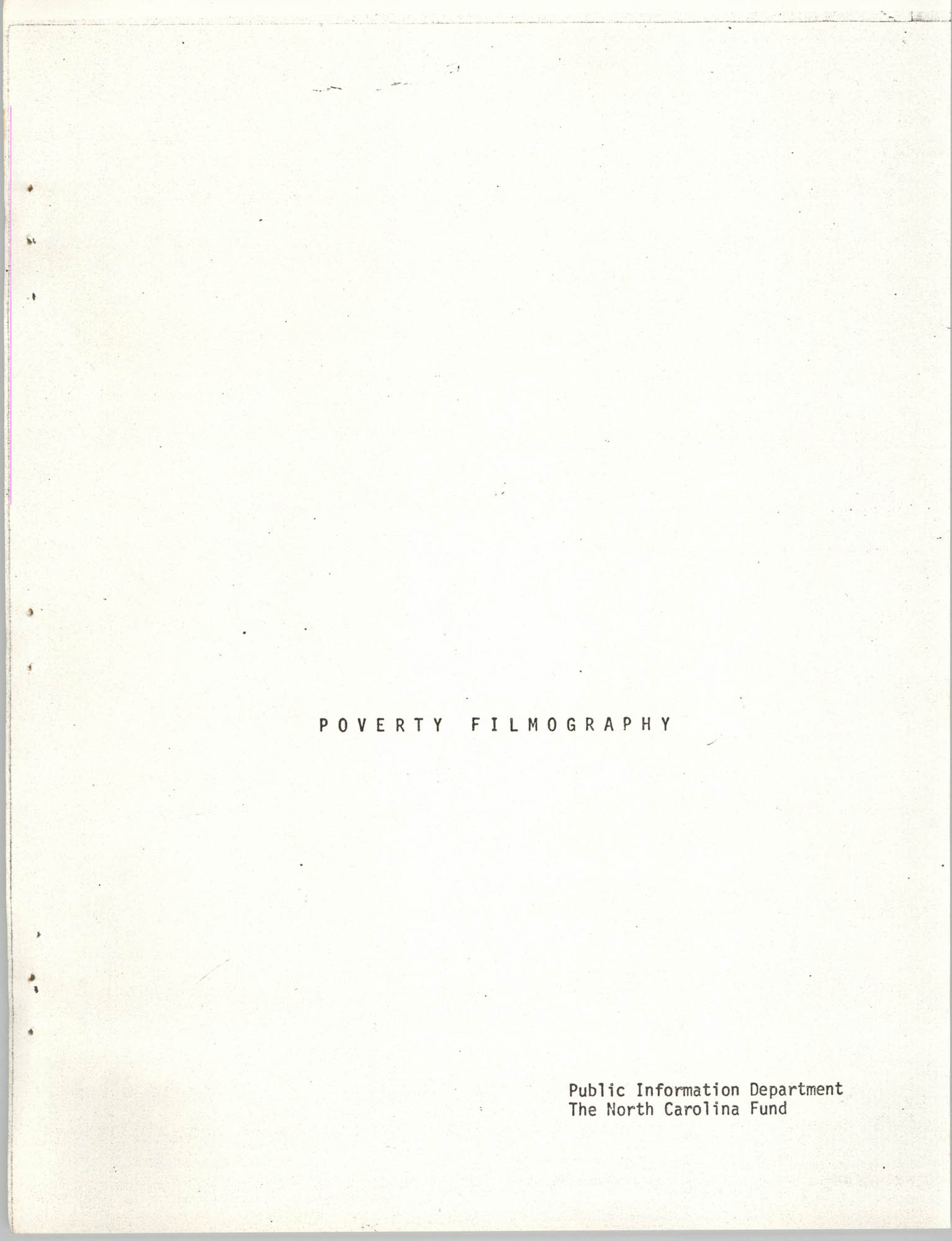 Poverty Filmography, Cover Page