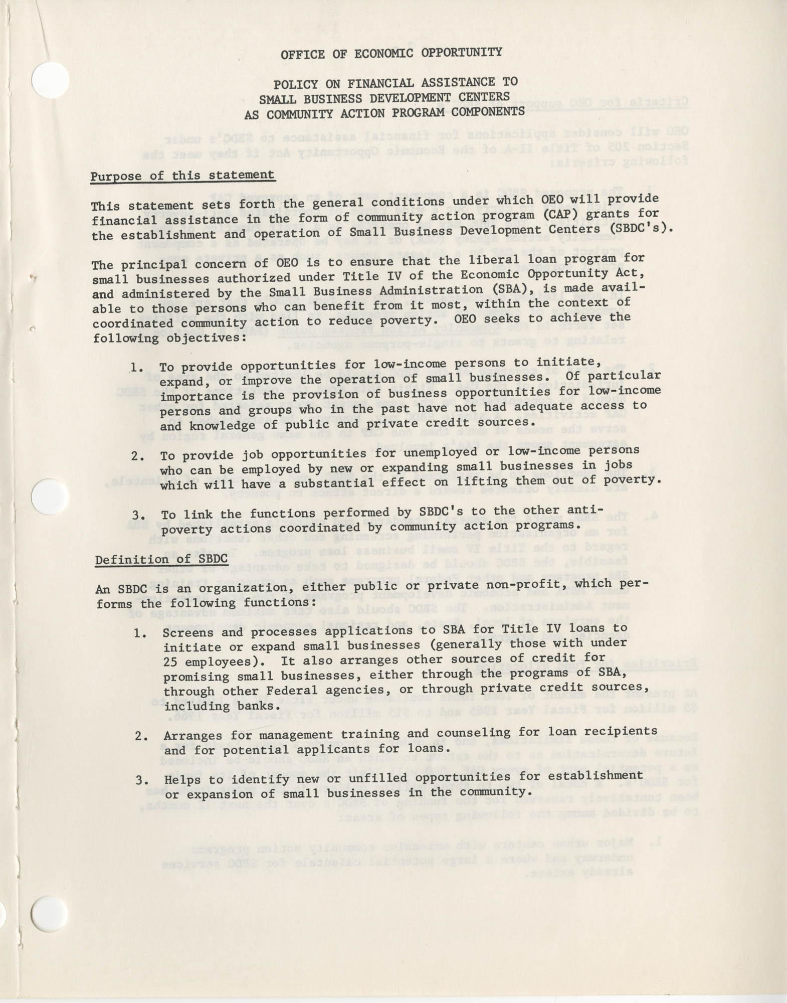 Community Action Program Memorandum No. 5, Attachment Page 1
