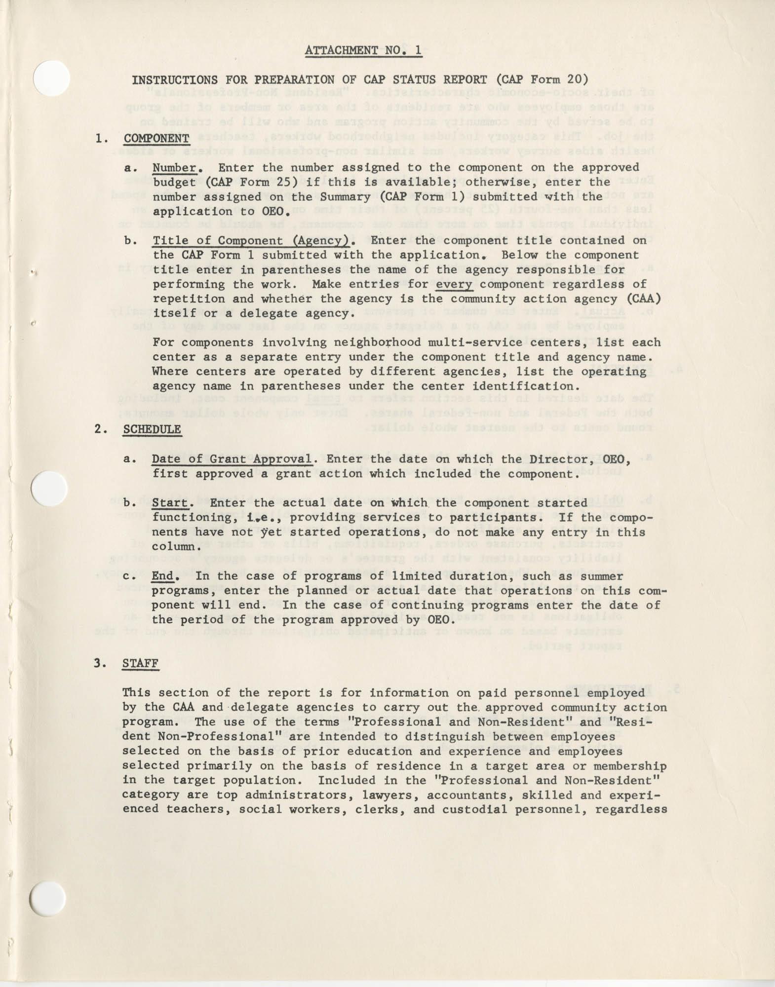 Community Action Program Memorandum No. 8, Attachment No. 1, Page 1