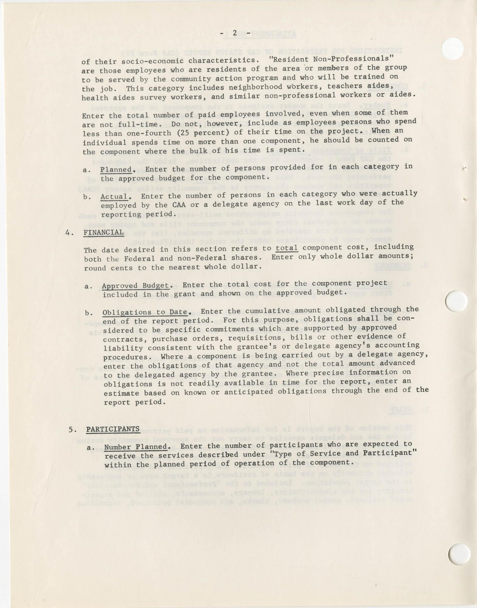 Community Action Program Memorandum No. 8, Attachment No. 1, Page 2