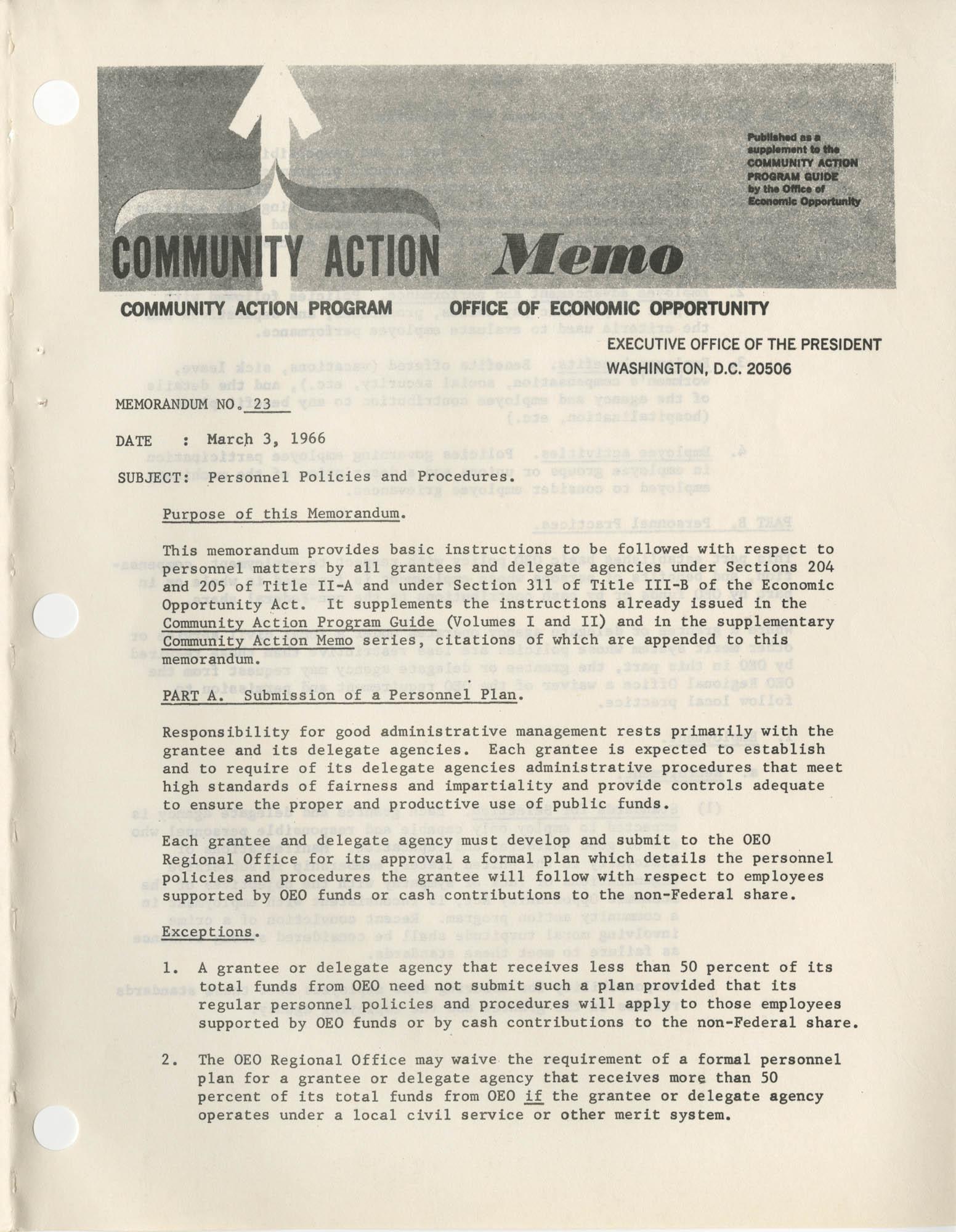 Community Action Program Memorandum No. 23, Memo Page 1