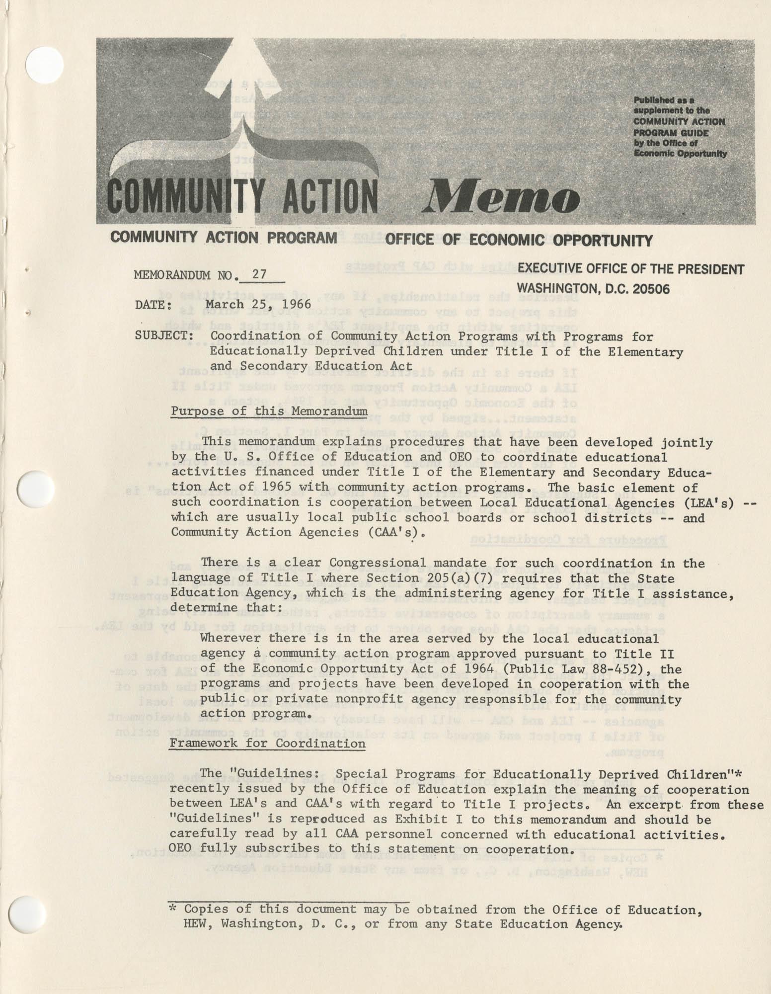 Community Action Program Memorandum No. 27, Memo Page 1