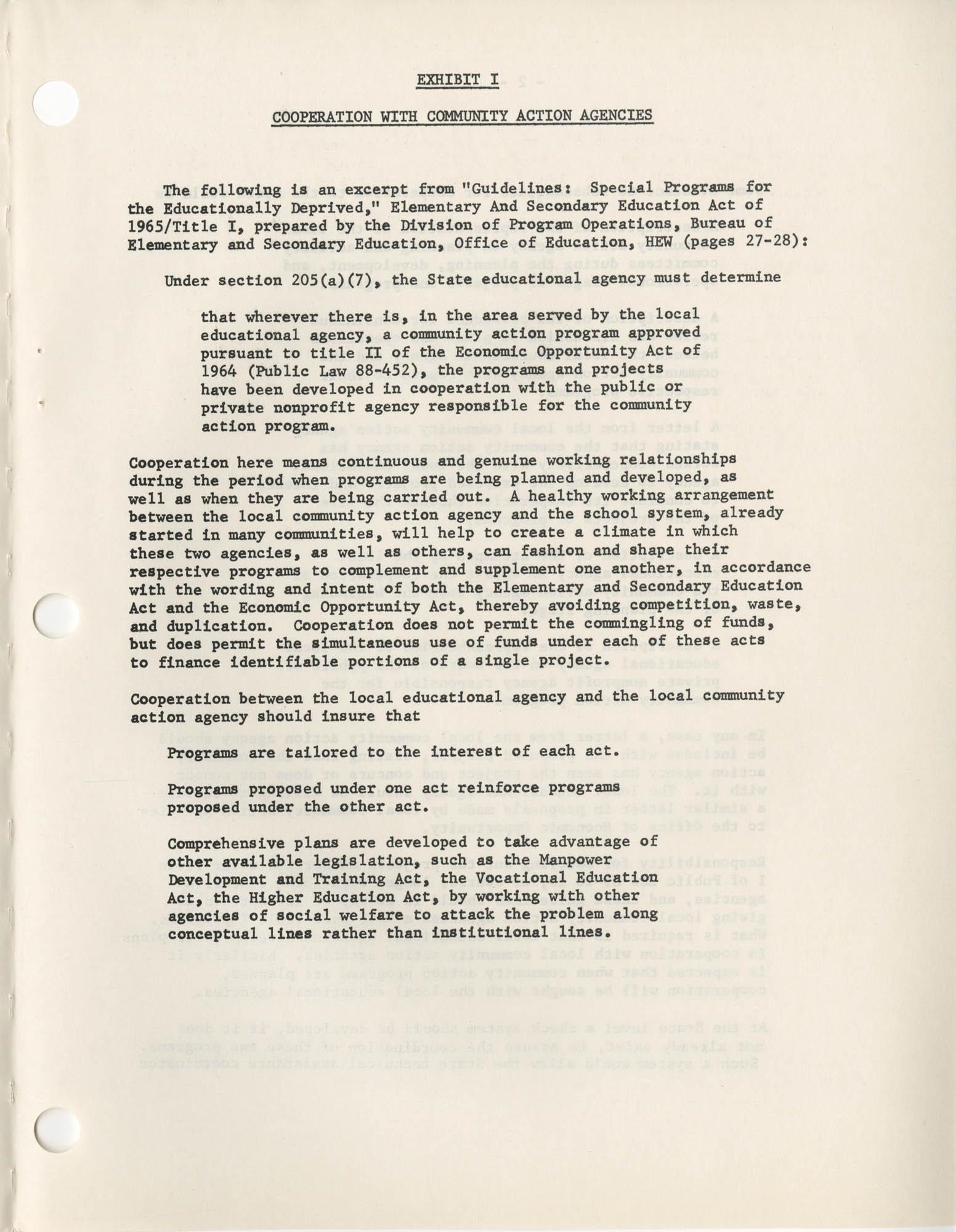 Community Action Program Memorandum No. 27, Exhibit 1 Page 1