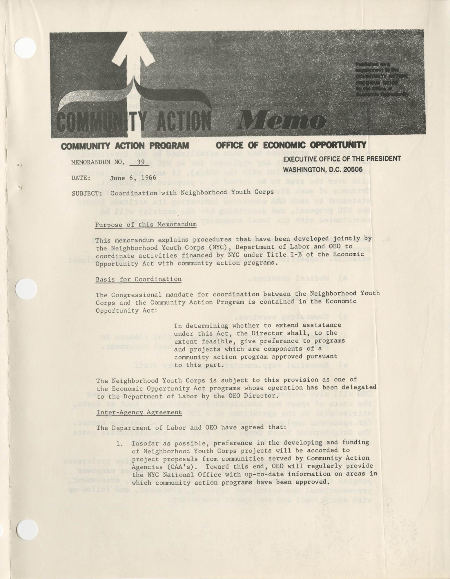 Community Action Program Memorandum No. 39, Memo Page 1