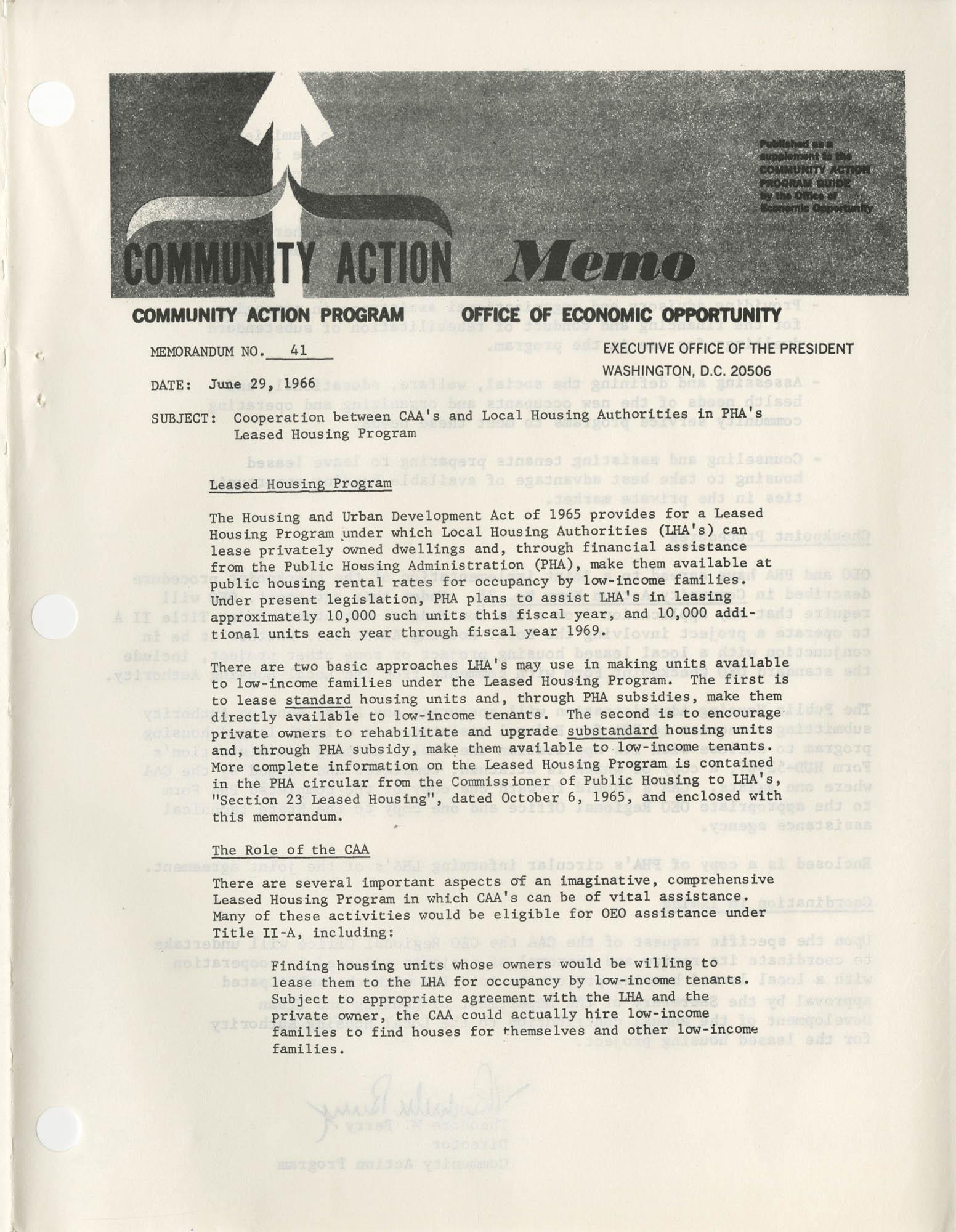 Community Action Program Memorandum No. 41, Memo Page 1