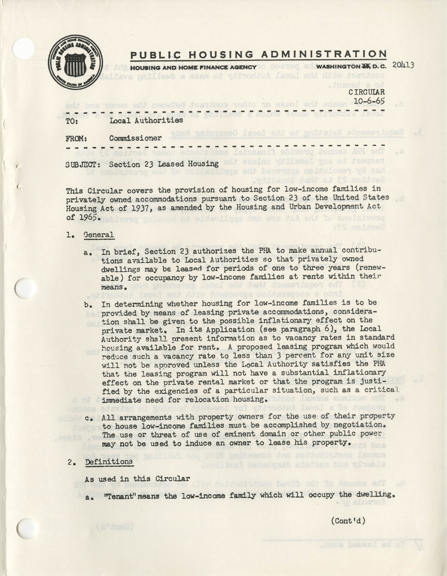 Section 23 Leased Housing Memorandum, Page 1