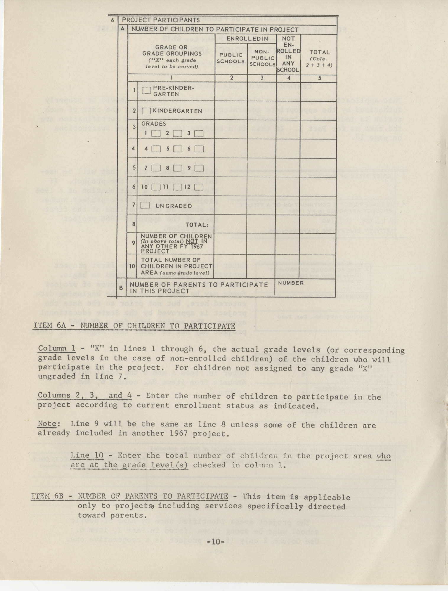 Instructions for Title 1, 1967 Application Forms, Page 10