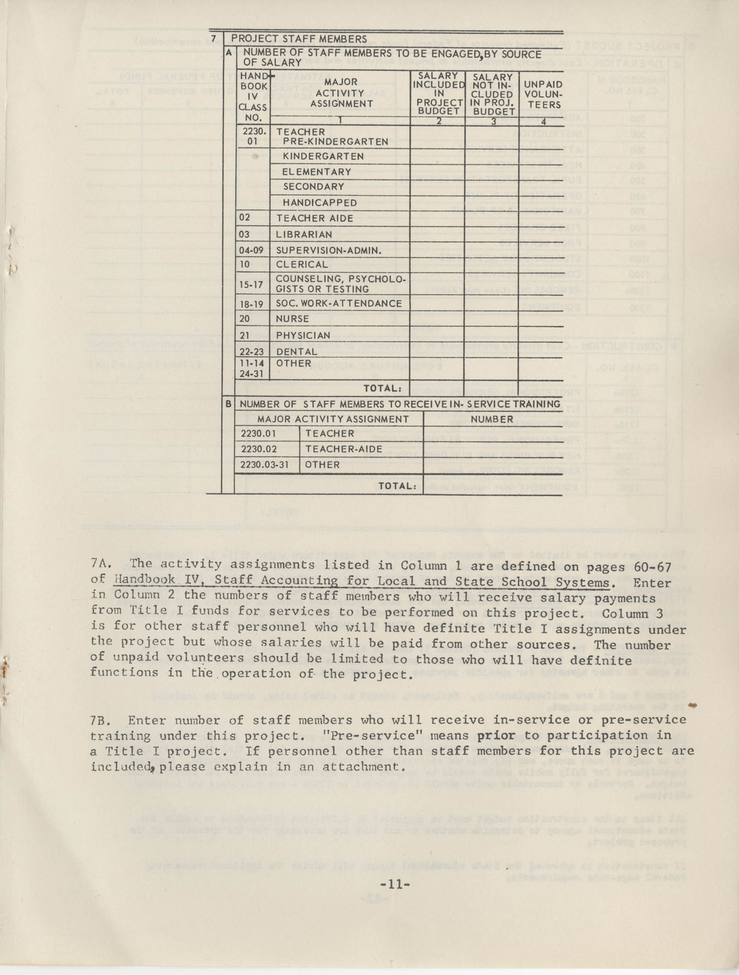 Instructions for Title 1, 1967 Application Forms, Page 11