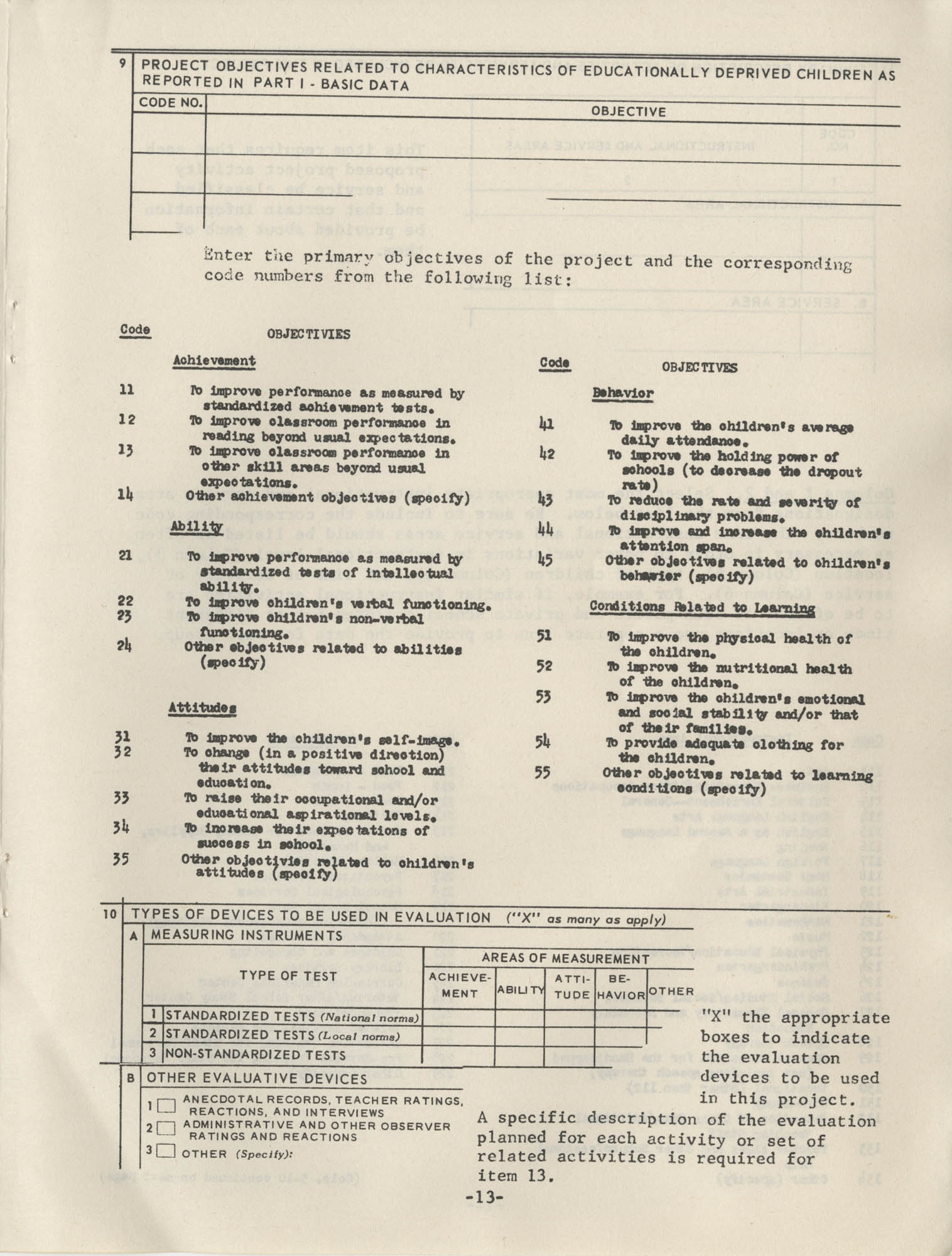 Instructions for Title 1, 1967 Application Forms, Page 13