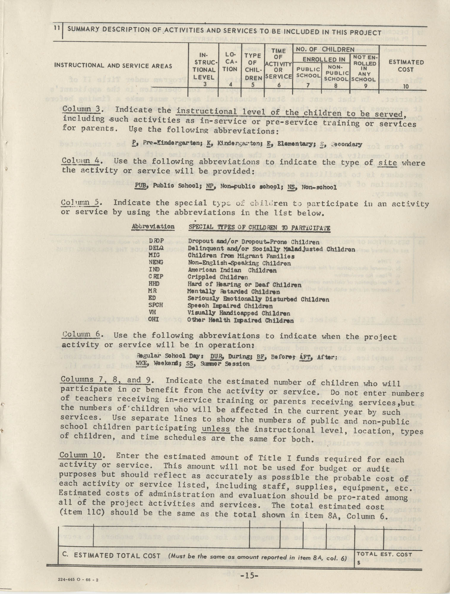 Instructions for Title 1, 1967 Application Forms, Page 15