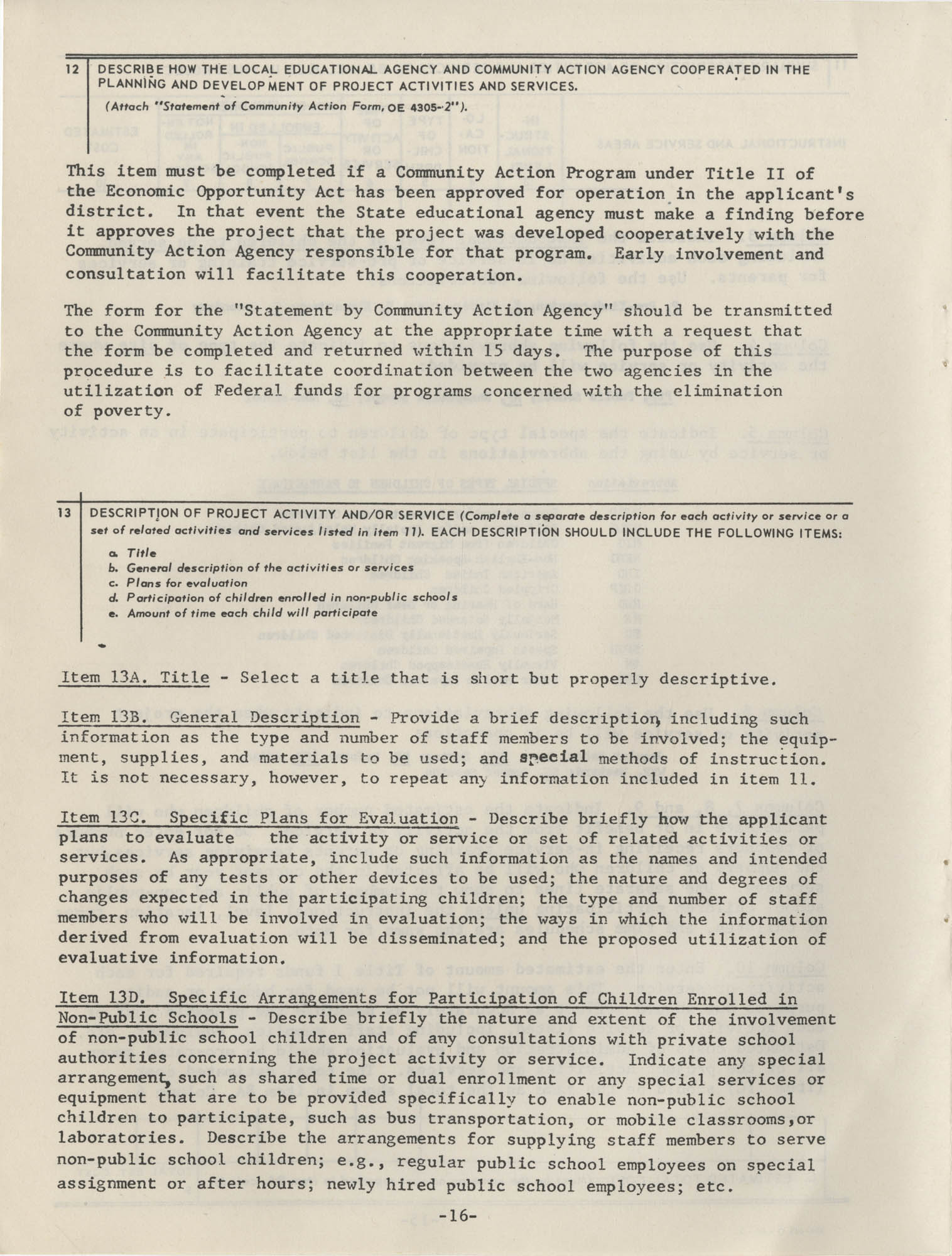 Instructions for Title 1, 1967 Application Forms, Page 16