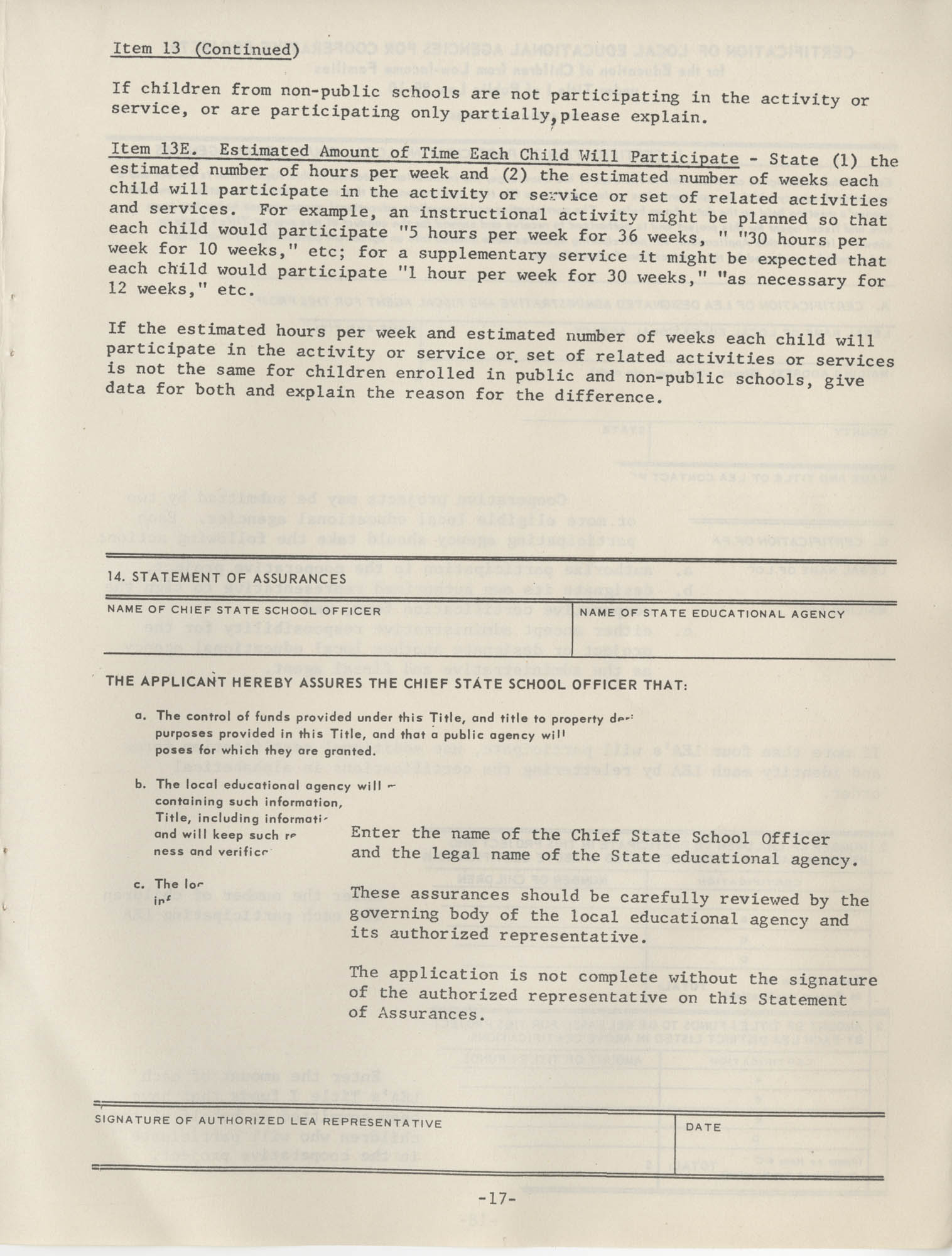 Instructions for Title 1, 1967 Application Forms, Page 17