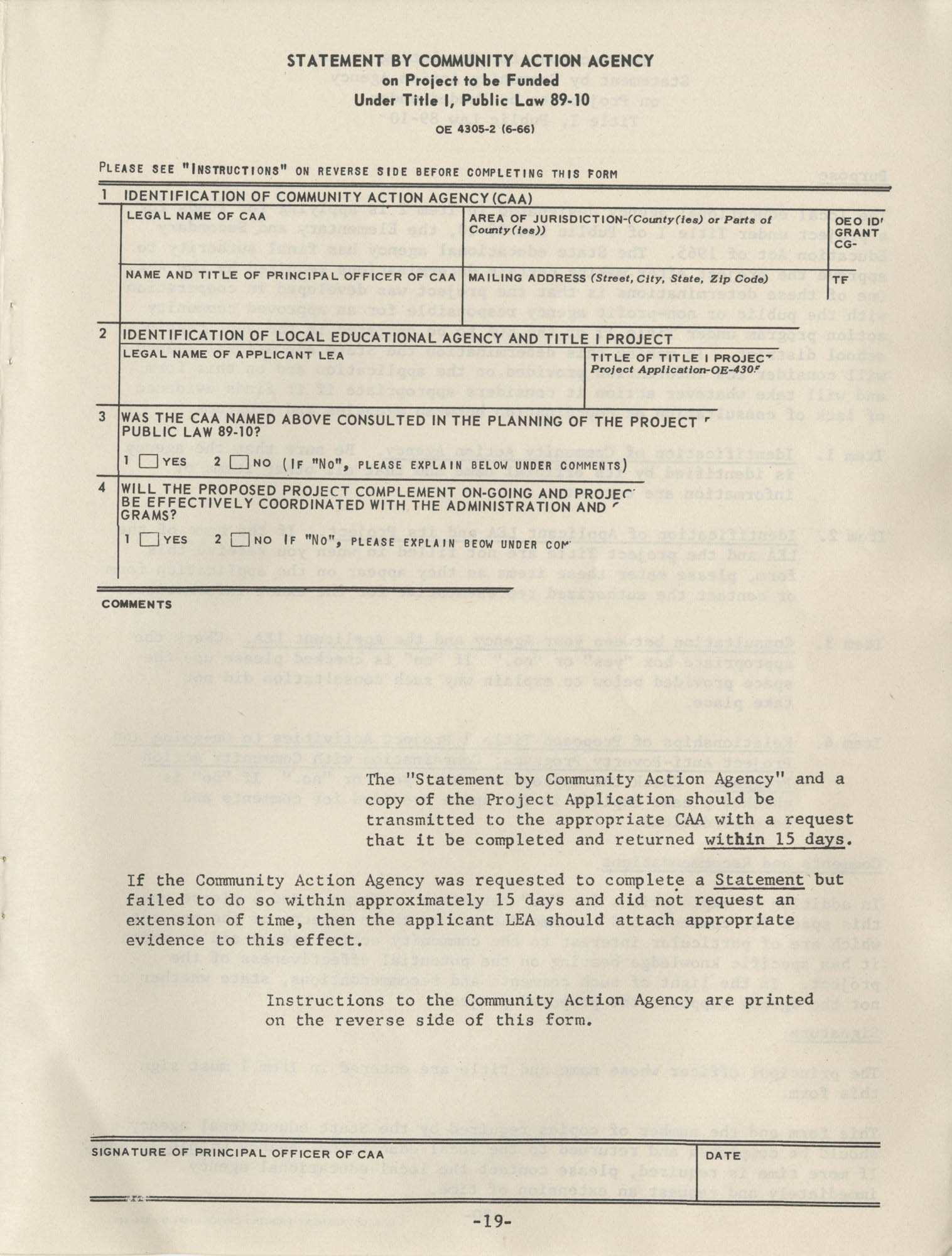 Instructions for Title 1, 1967 Application Forms, Page 19