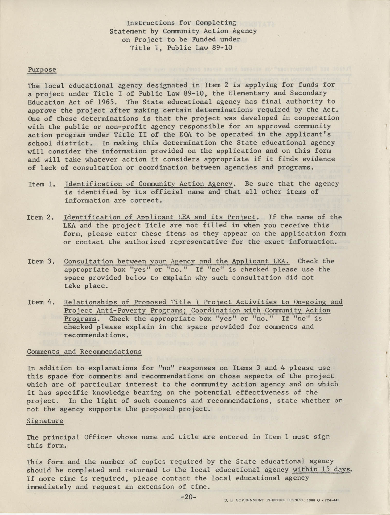 Instructions for Title 1, 1967 Application Forms, Page 20