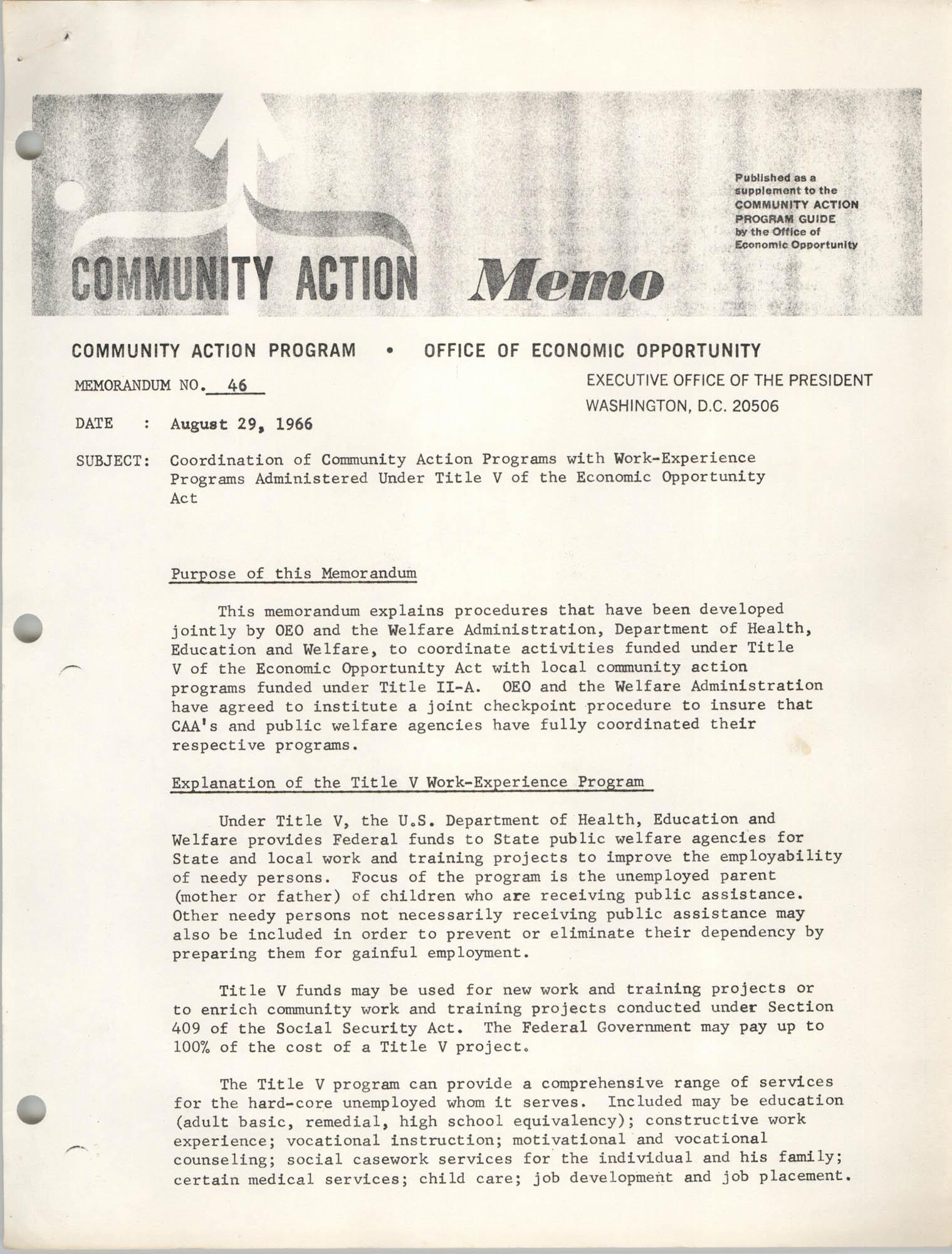 Community Action Program Memorandum No. 46, Memo Page 1
