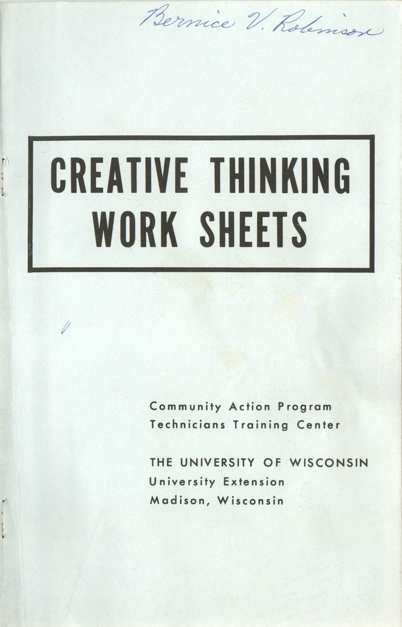 Creative Thinking Work Sheets, Front Cover