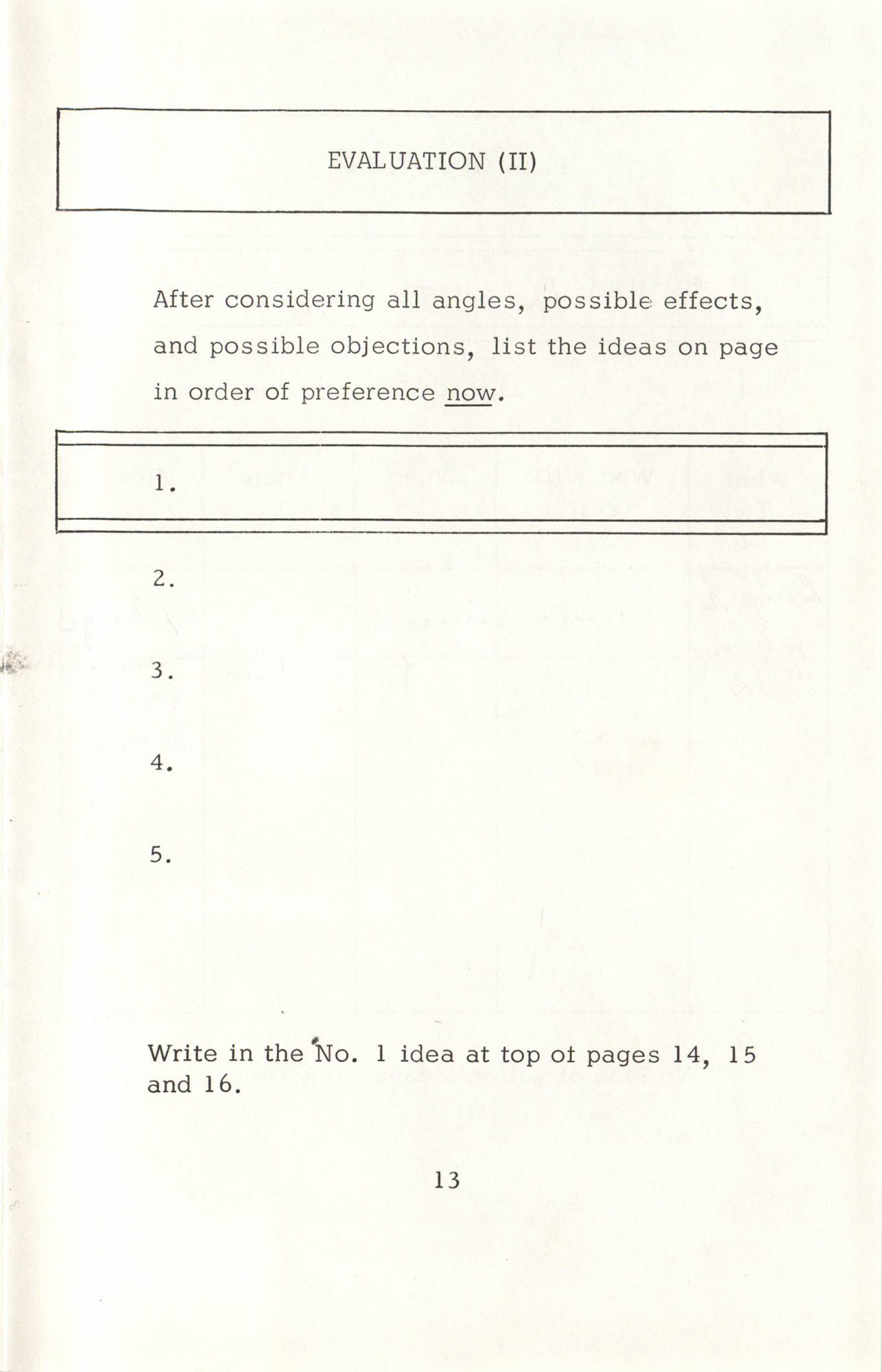 Creative Thinking Work Sheets, Page 13