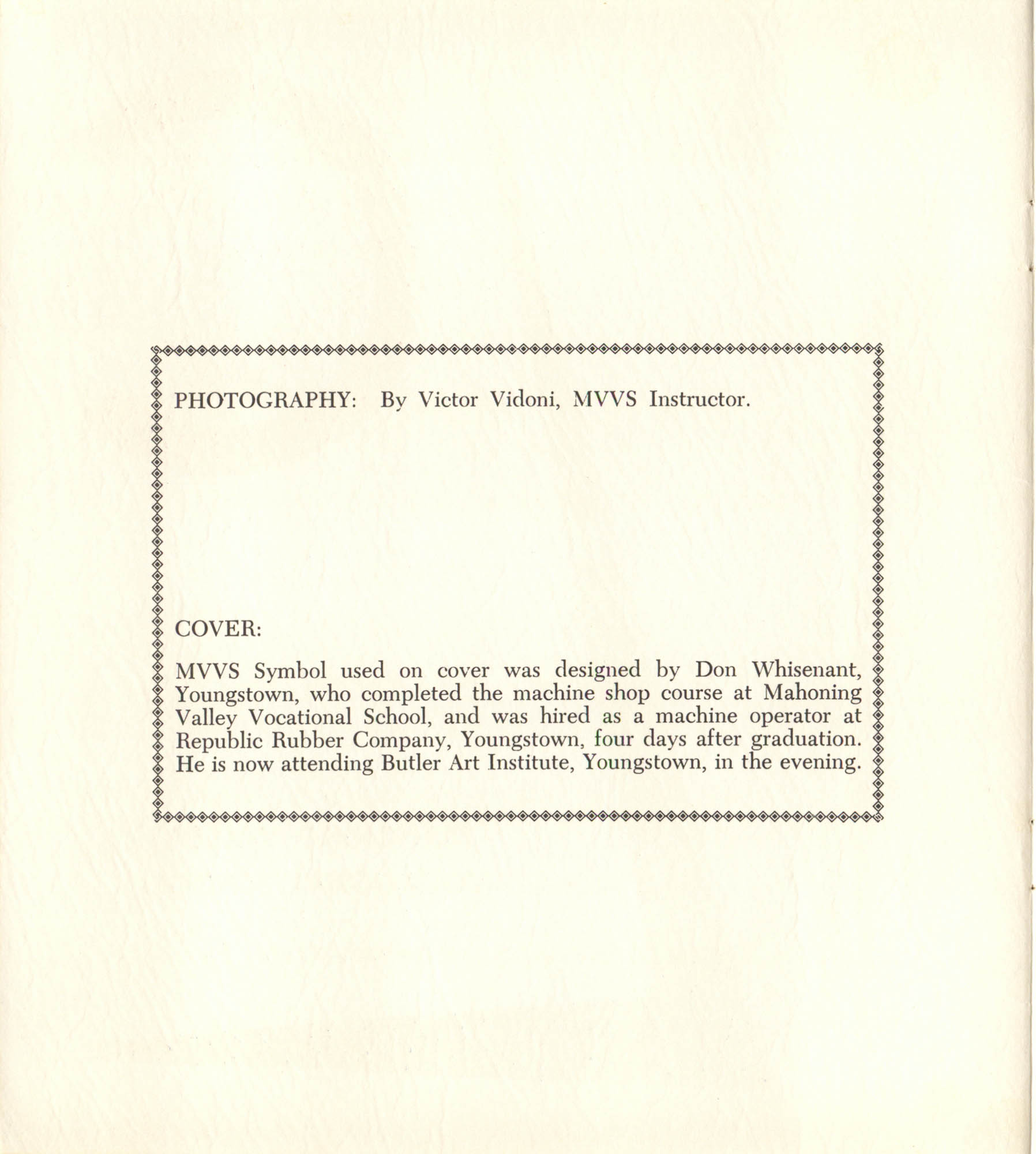Mahoning Valley Vocational School Pamphlet, Front Cover Interior