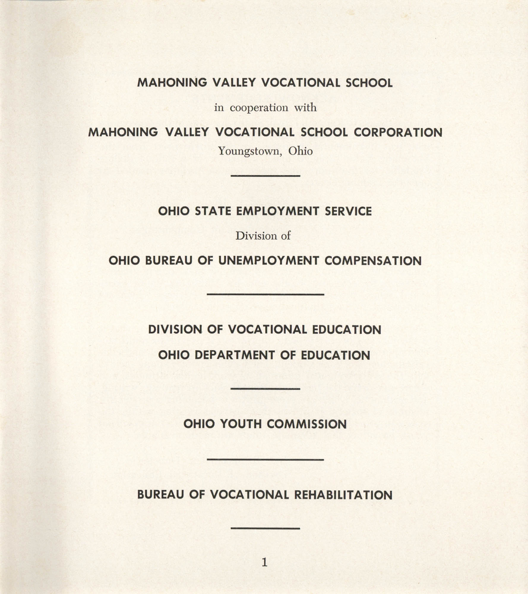 Mahoning Valley Vocational School Pamphlet, Page 1