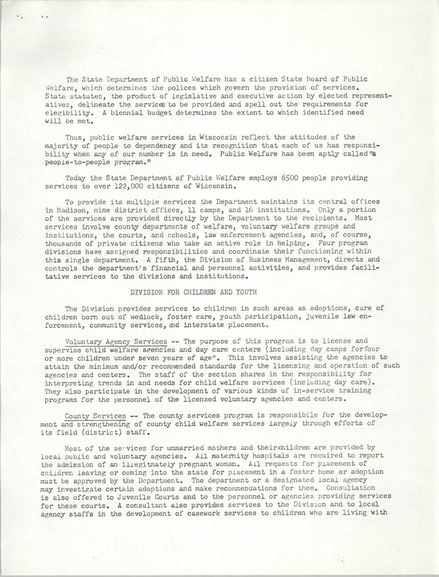 Public Welfare Programs, Page 1