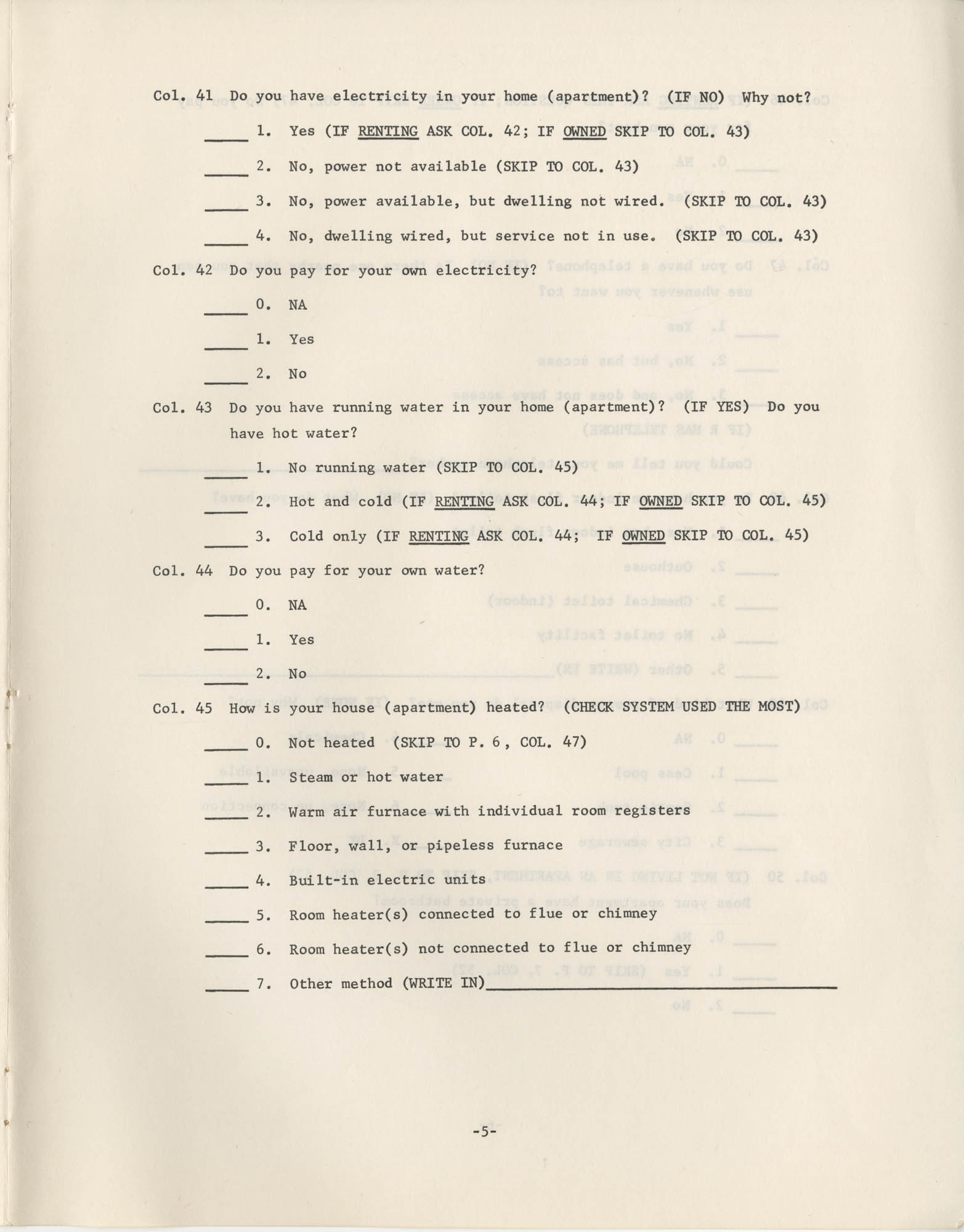 Household Questionnaire, Page 5