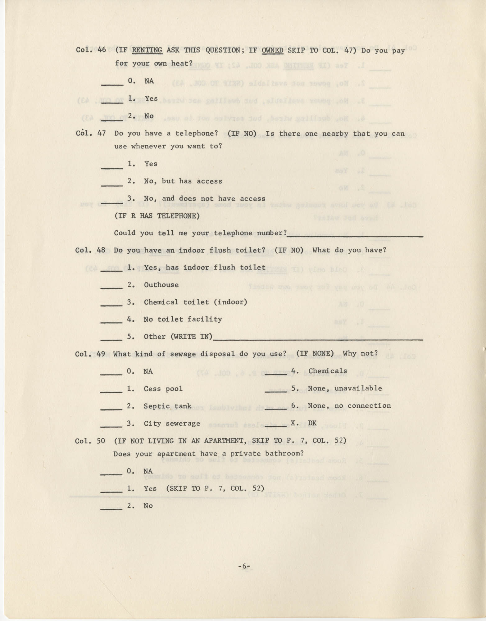 Household Questionnaire, Page 6