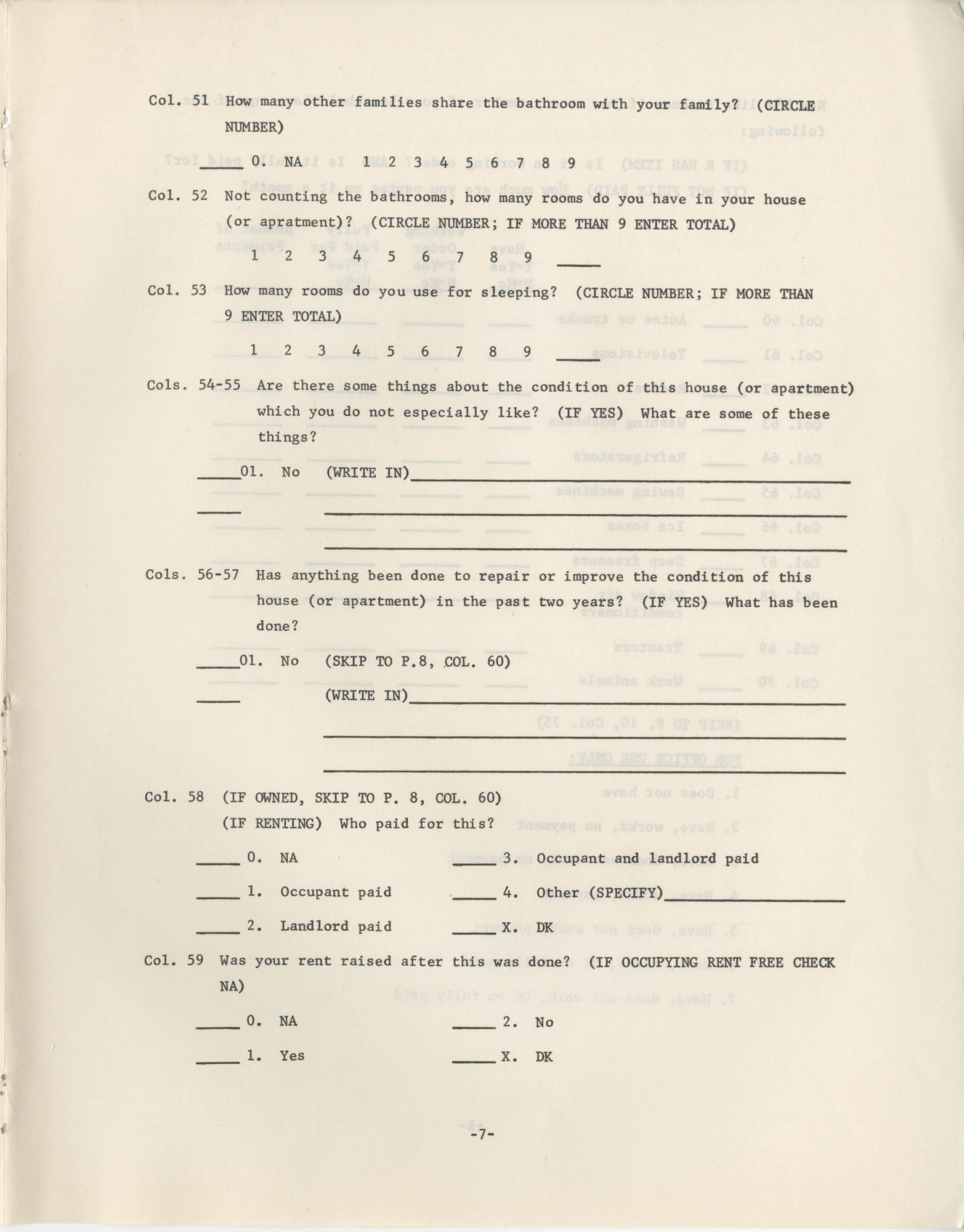 Household Questionnaire, Page 7
